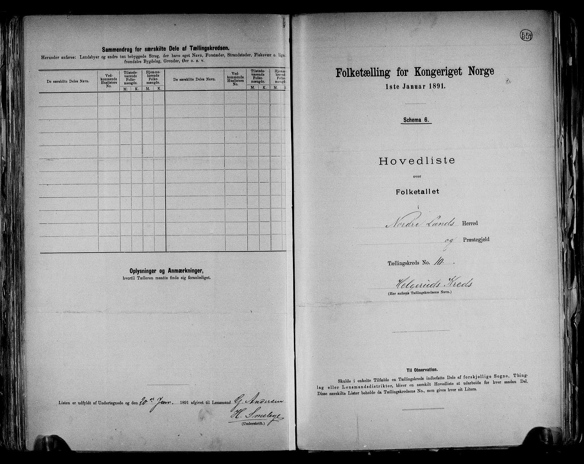 RA, Folketelling 1891 for 0538 Nordre Land herred, 1891, s. 22
