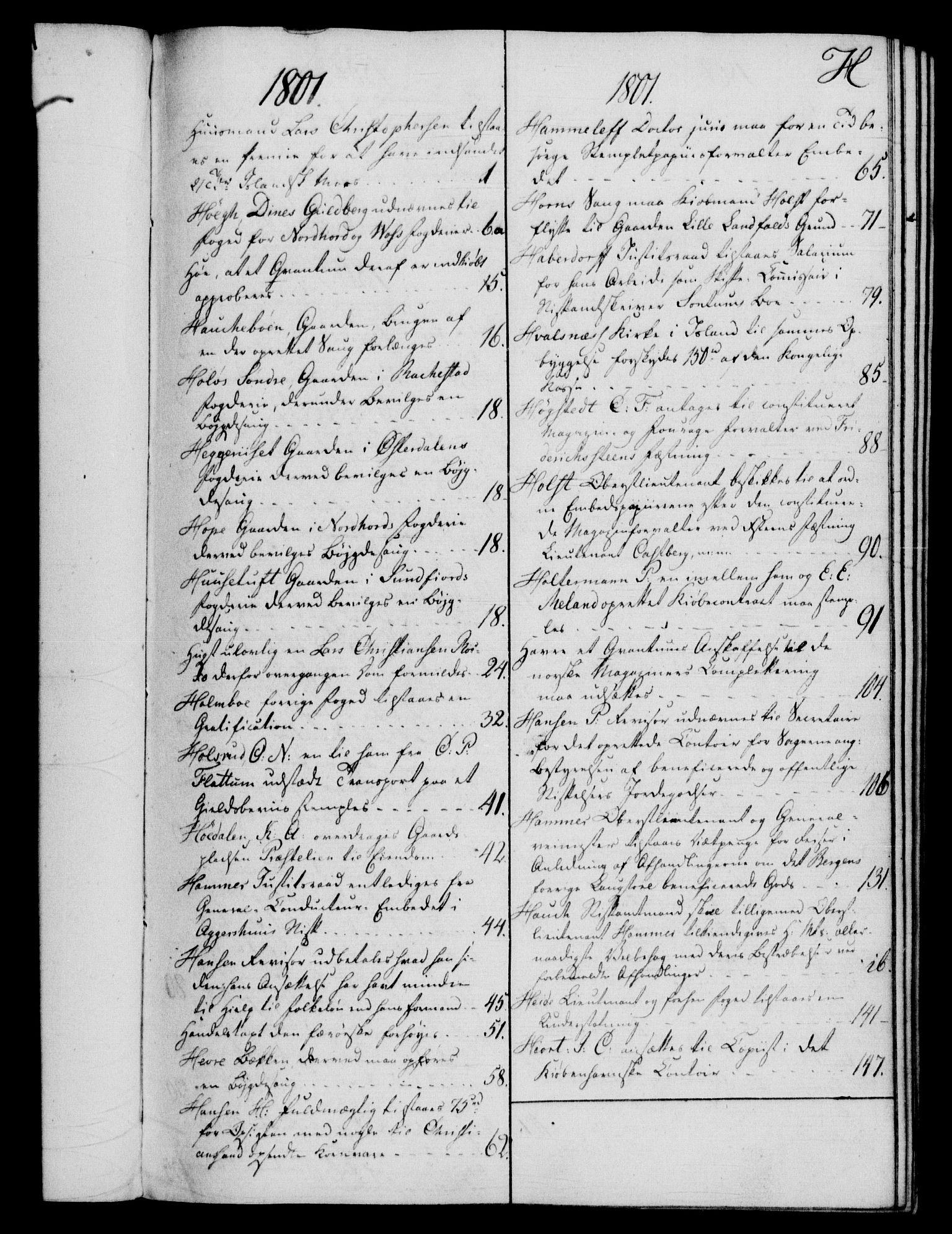 RA, Rentekammeret, Kammerkanselliet, G/Gf/Gfb/L0016: Register til norske relasjons- og resolusjonsprotokoller (merket RK 52.111), 1801-1814, s. 80