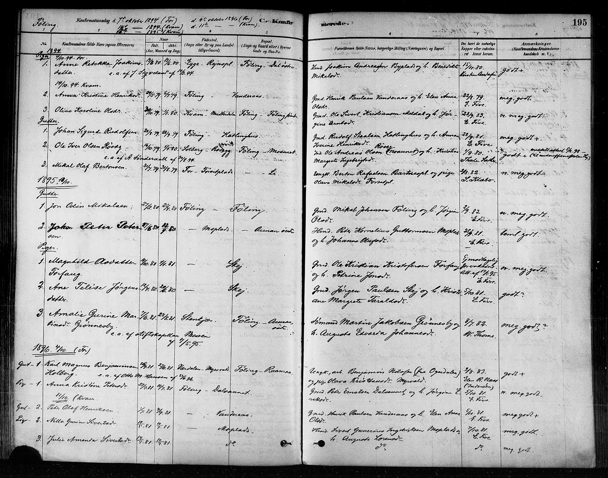 SAT, Ministerialprotokoller, klokkerbøker og fødselsregistre - Nord-Trøndelag, 746/L0449: Ministerialbok nr. 746A07 /3, 1878-1899, s. 195