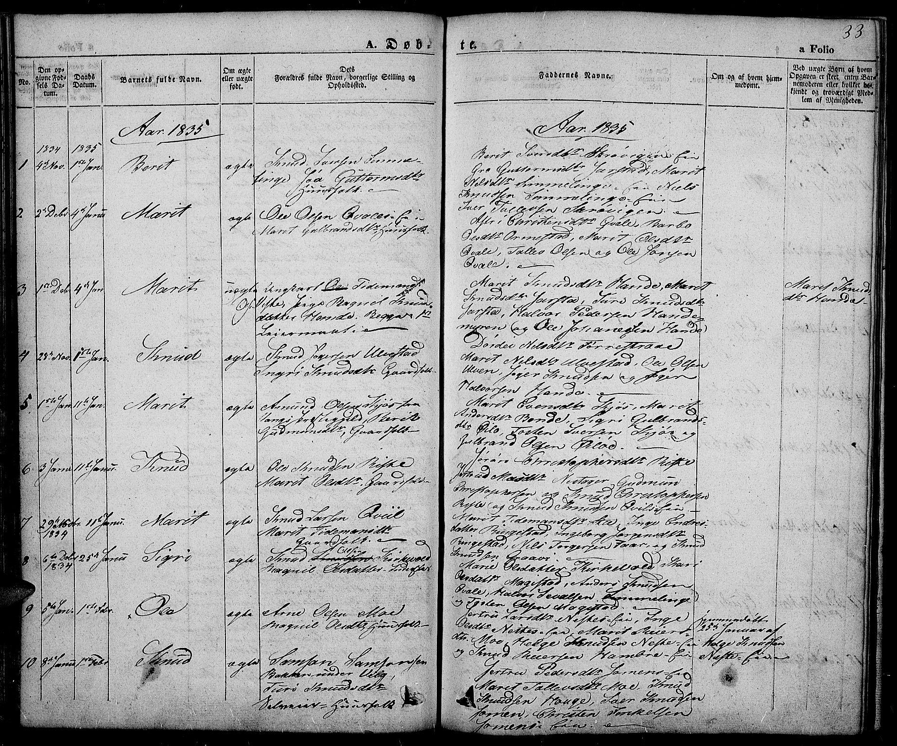SAH, Slidre prestekontor, Ministerialbok nr. 3, 1831-1843, s. 33