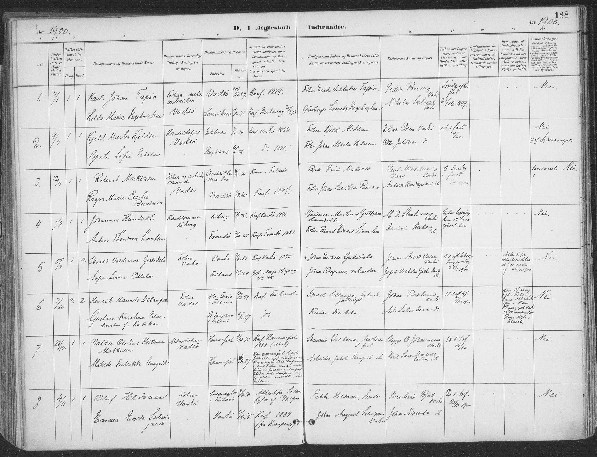 SATØ, Vadsø sokneprestkontor, H/Ha/L0007kirke: Ministerialbok nr. 7, 1896-1916, s. 188