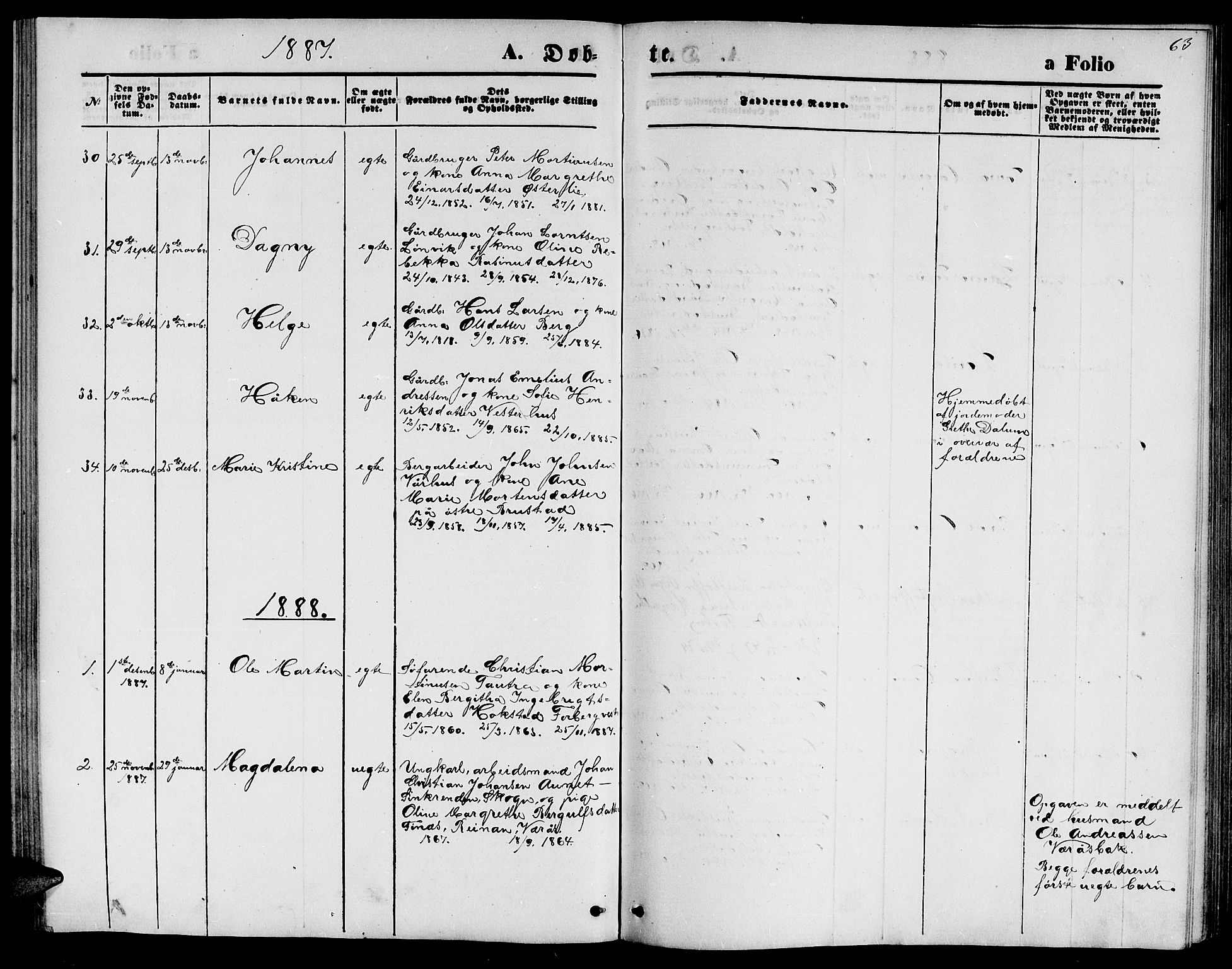 SAT, Ministerialprotokoller, klokkerbøker og fødselsregistre - Nord-Trøndelag, 722/L0225: Klokkerbok nr. 722C01, 1871-1888, s. 63