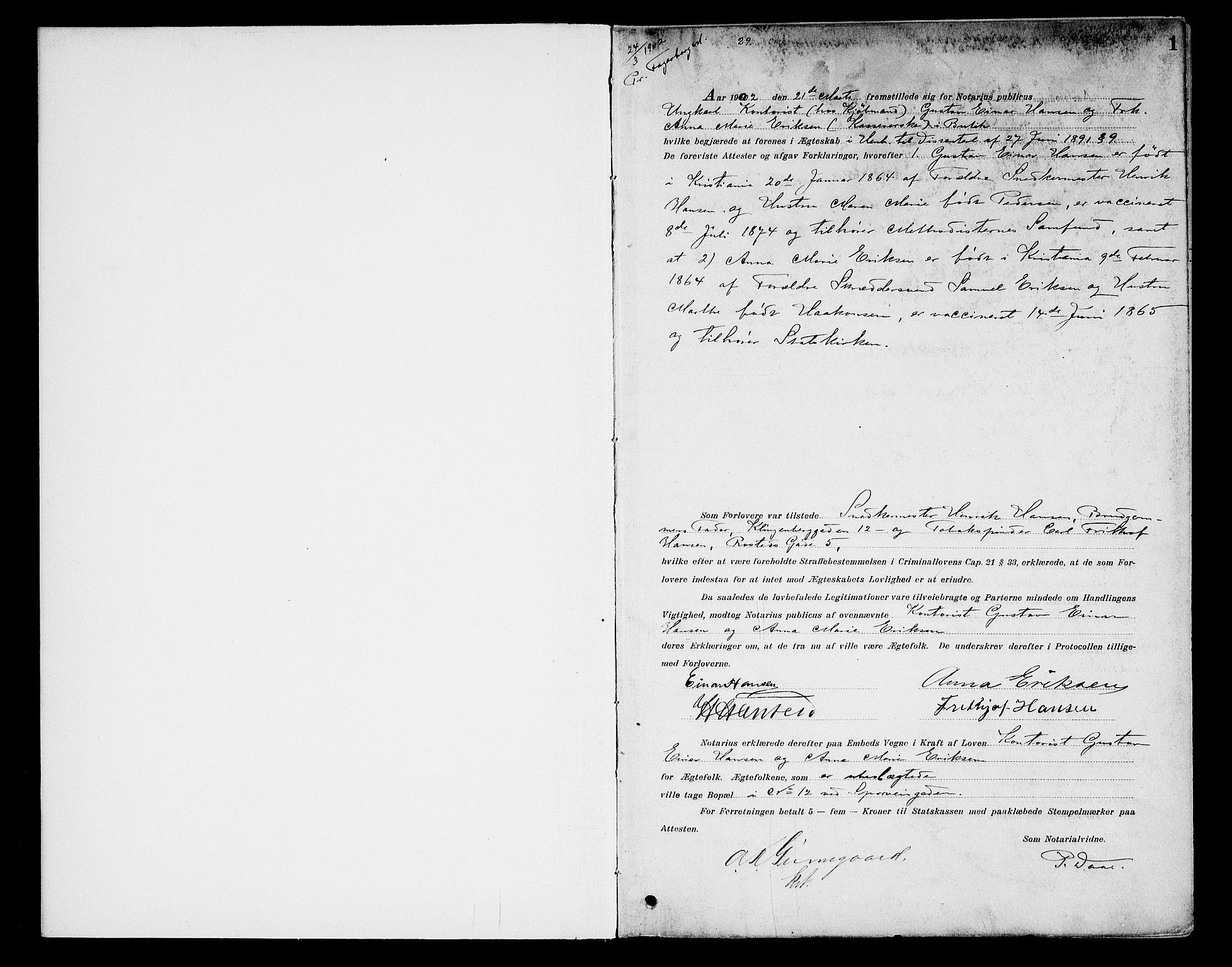SAO, Oslo byfogd avd. I, L/Lb/Lbb/L0006: Notarialprotokoll, rekke II: Vigsler, 1902-1907, s. 1a