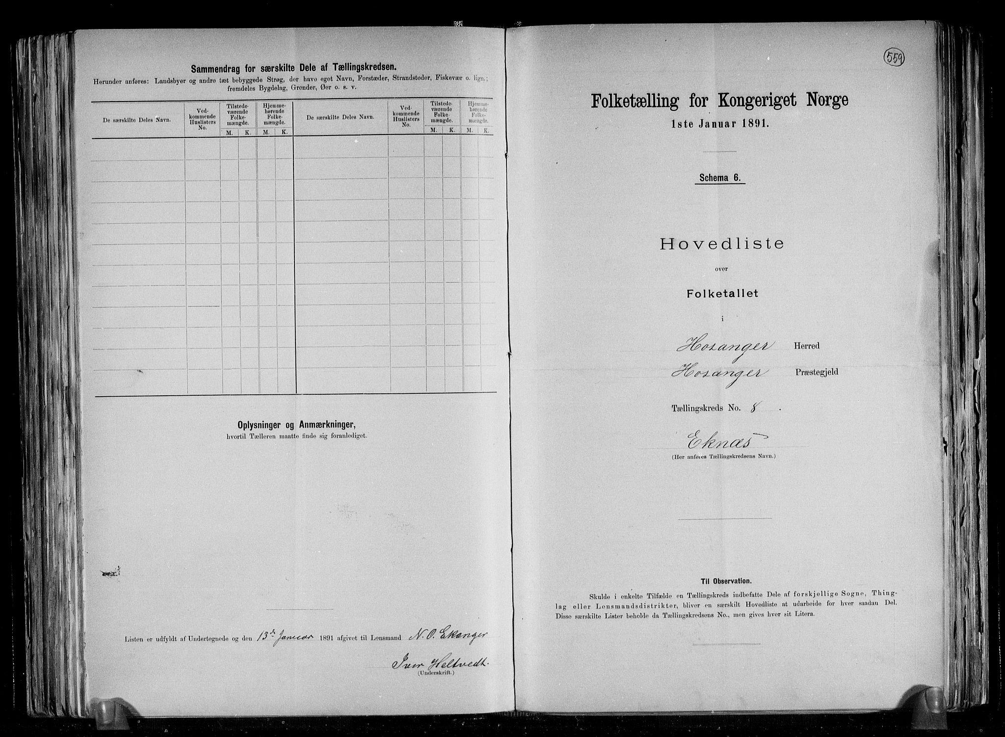 RA, Folketelling 1891 for 1253 Hosanger herred, 1891, s. 18