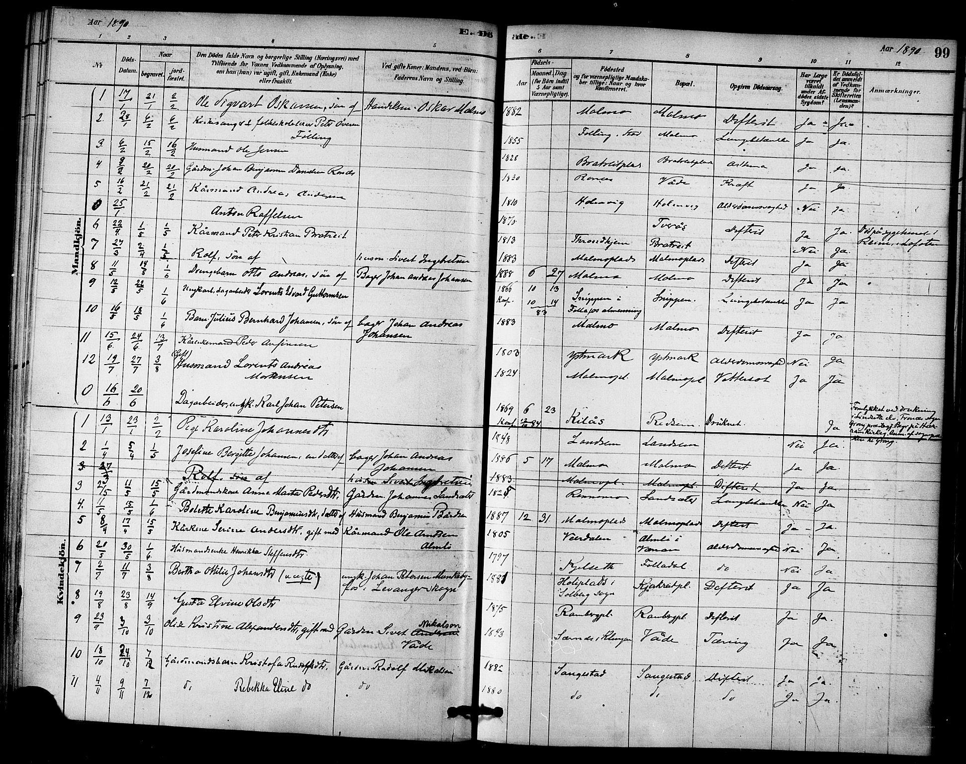 SAT, Ministerialprotokoller, klokkerbøker og fødselsregistre - Nord-Trøndelag, 745/L0429: Ministerialbok nr. 745A01, 1878-1894, s. 99