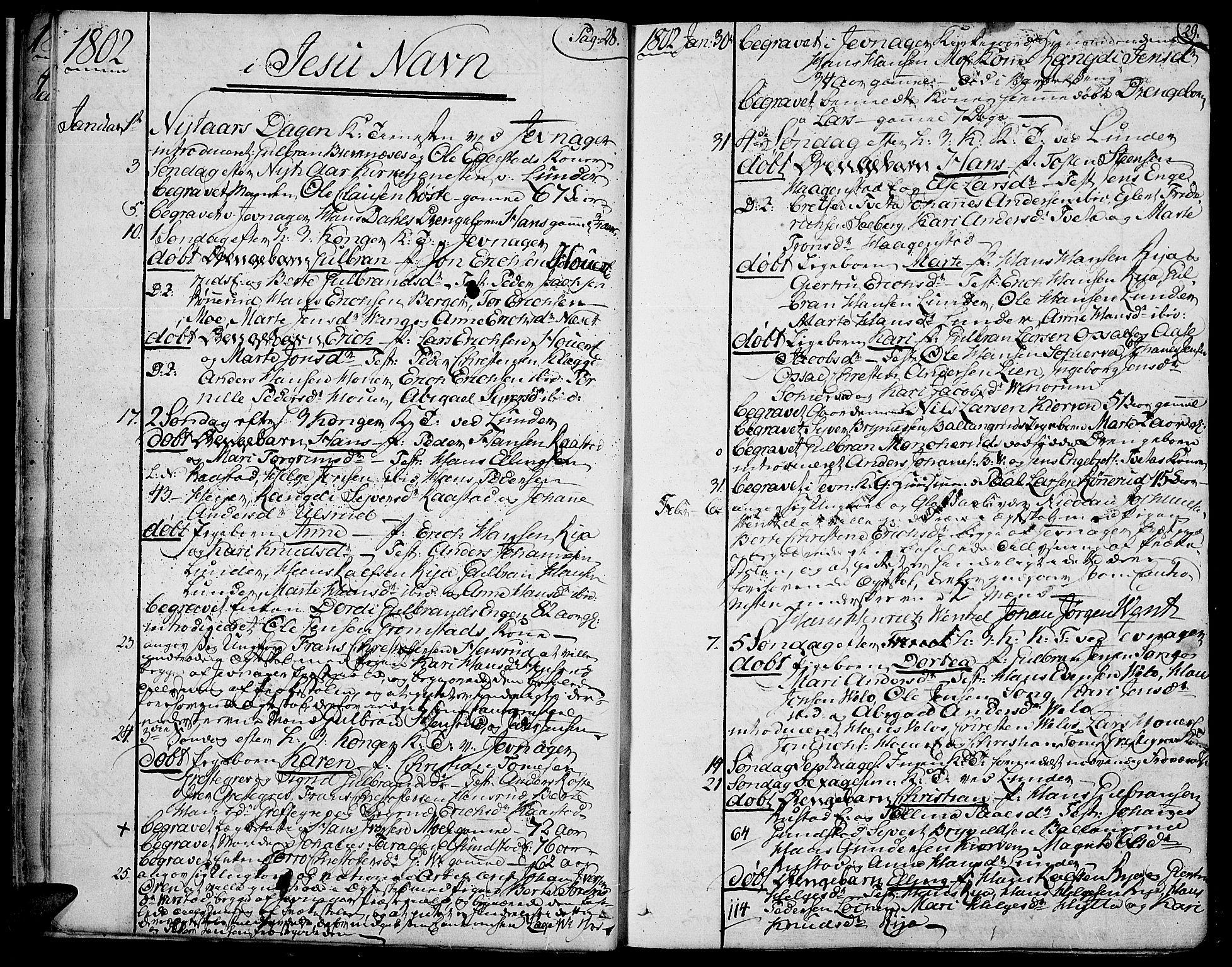SAH, Jevnaker prestekontor, Ministerialbok nr. 4, 1800-1861, s. 28-29