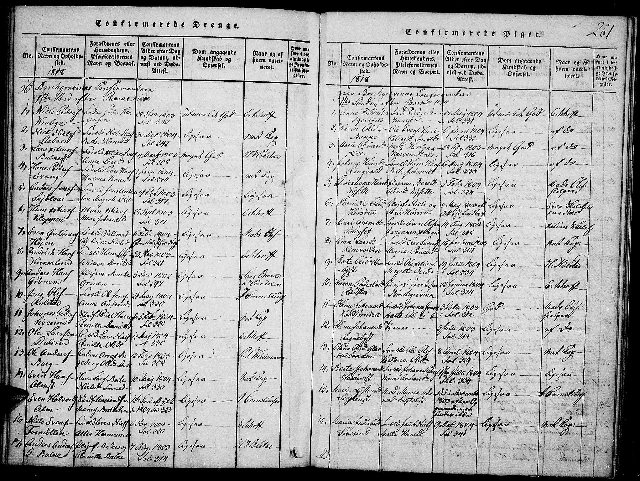 SAH, Toten prestekontor, Ministerialbok nr. 9, 1814-1820, s. 261