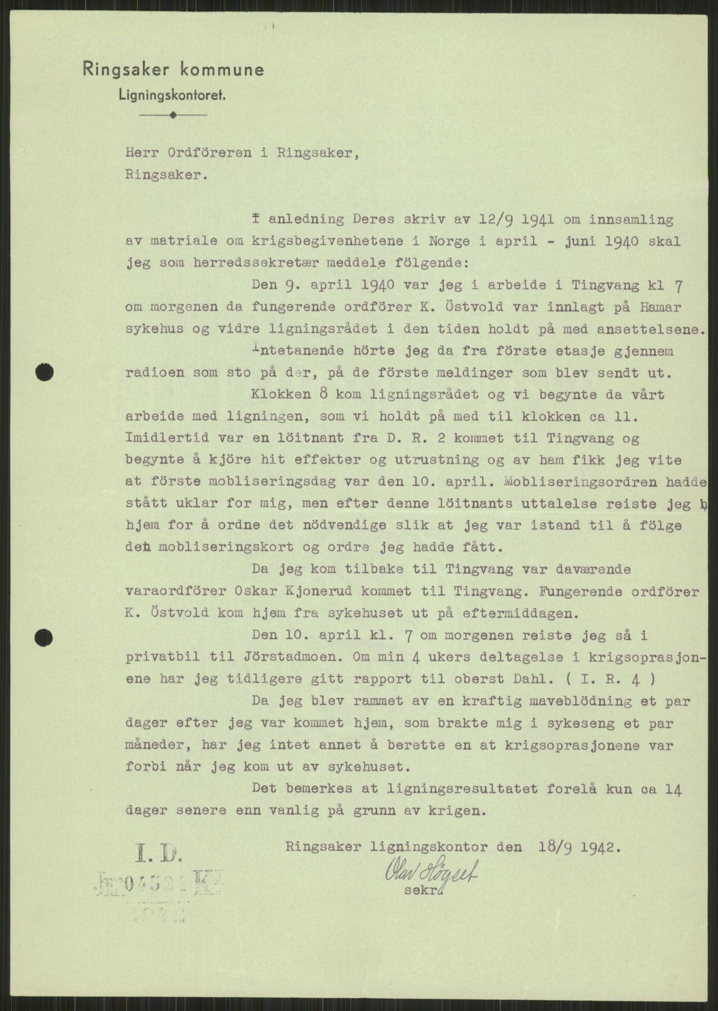 RA, Forsvaret, Forsvarets krigshistoriske avdeling, Y/Ya/L0013: II-C-11-31 - Fylkesmenn.  Rapporter om krigsbegivenhetene 1940., 1940, s. 948