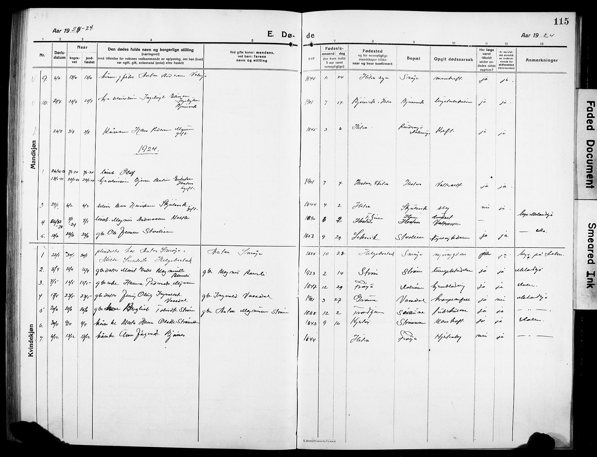 SAT, Ministerialprotokoller, klokkerbøker og fødselsregistre - Sør-Trøndelag, 634/L0543: Klokkerbok nr. 634C05, 1917-1928, s. 115