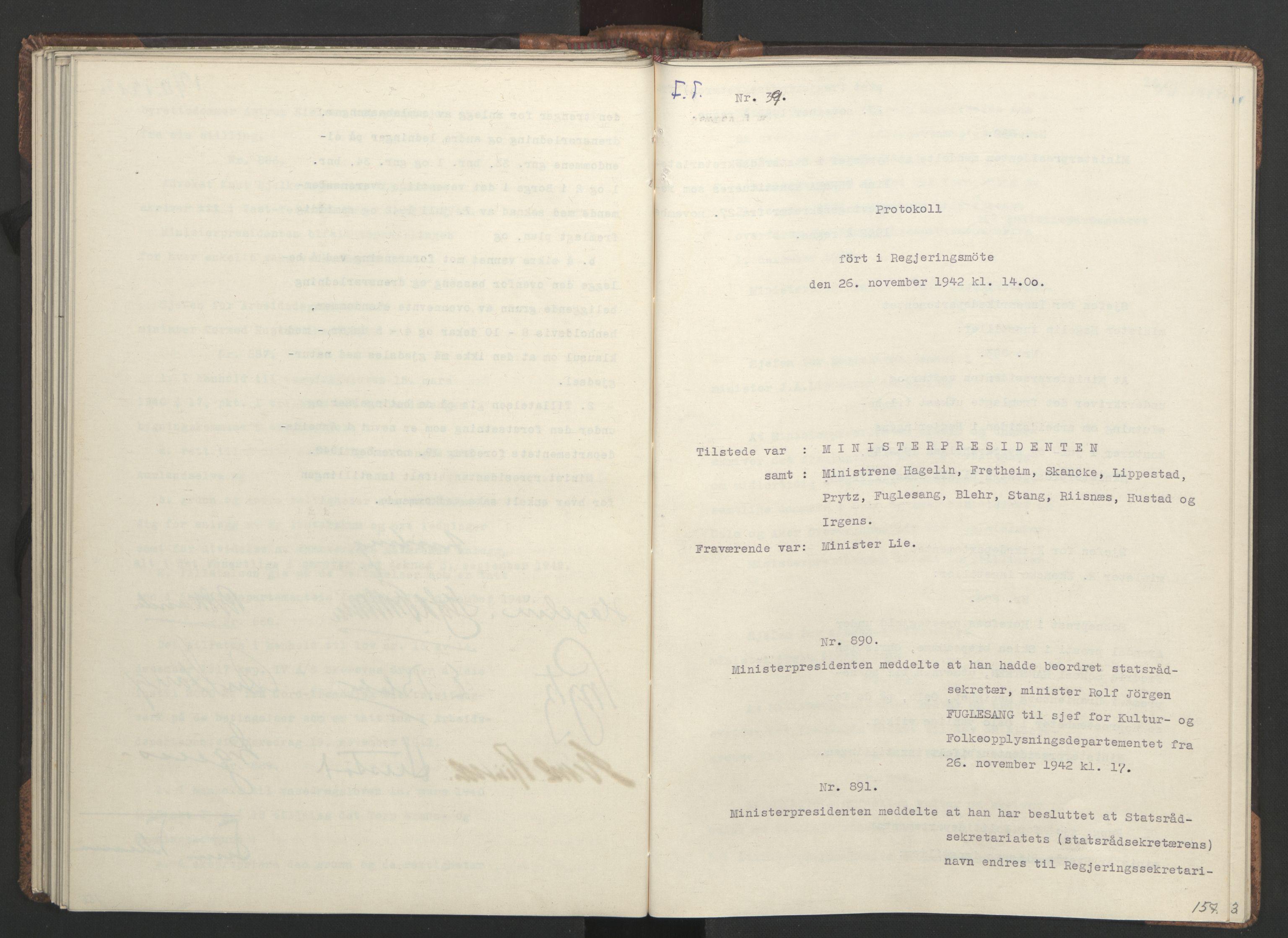 RA, NS-administrasjonen 1940-1945 (Statsrådsekretariatet, de kommisariske statsråder mm), D/Da/L0001: Beslutninger og tillegg (1-952 og 1-32), 1942, s. 156b-157a
