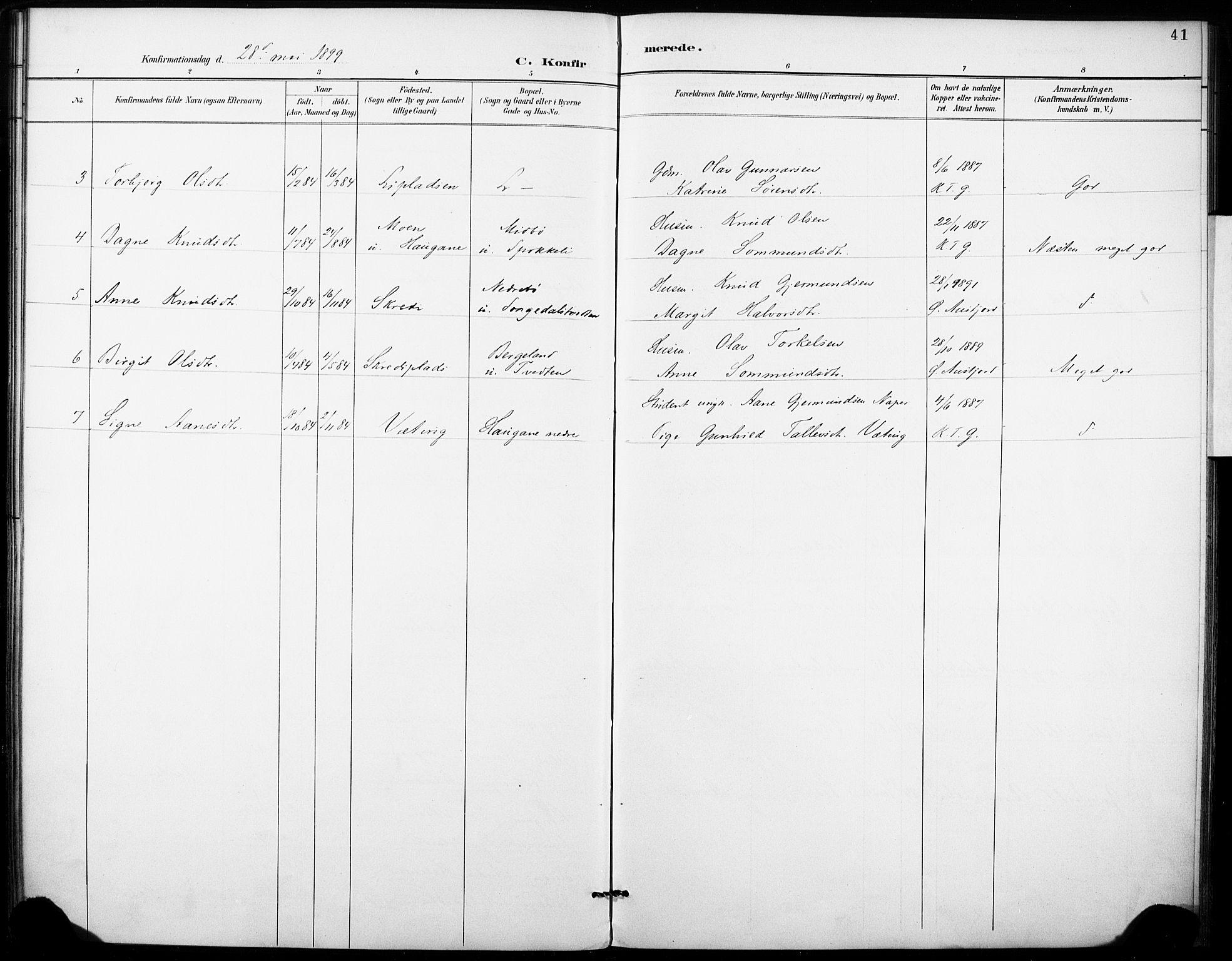 SAKO, Fyresdal kirkebøker, F/Fb/L0003: Ministerialbok nr. II 3, 1887-1903, s. 41