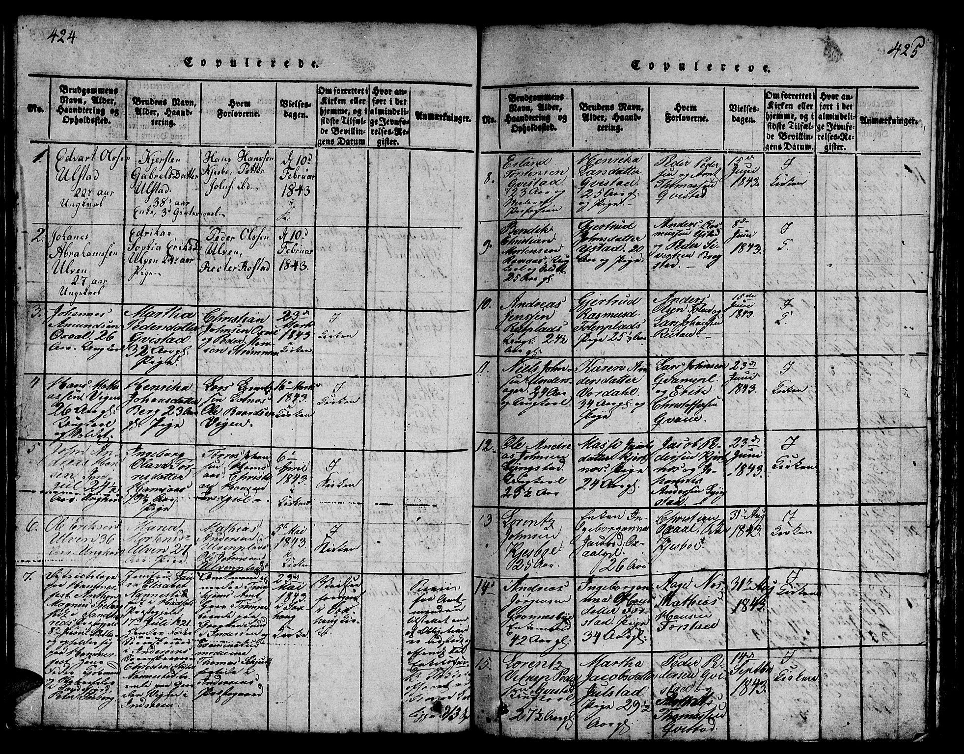 SAT, Ministerialprotokoller, klokkerbøker og fødselsregistre - Nord-Trøndelag, 730/L0298: Klokkerbok nr. 730C01, 1816-1849, s. 424-425