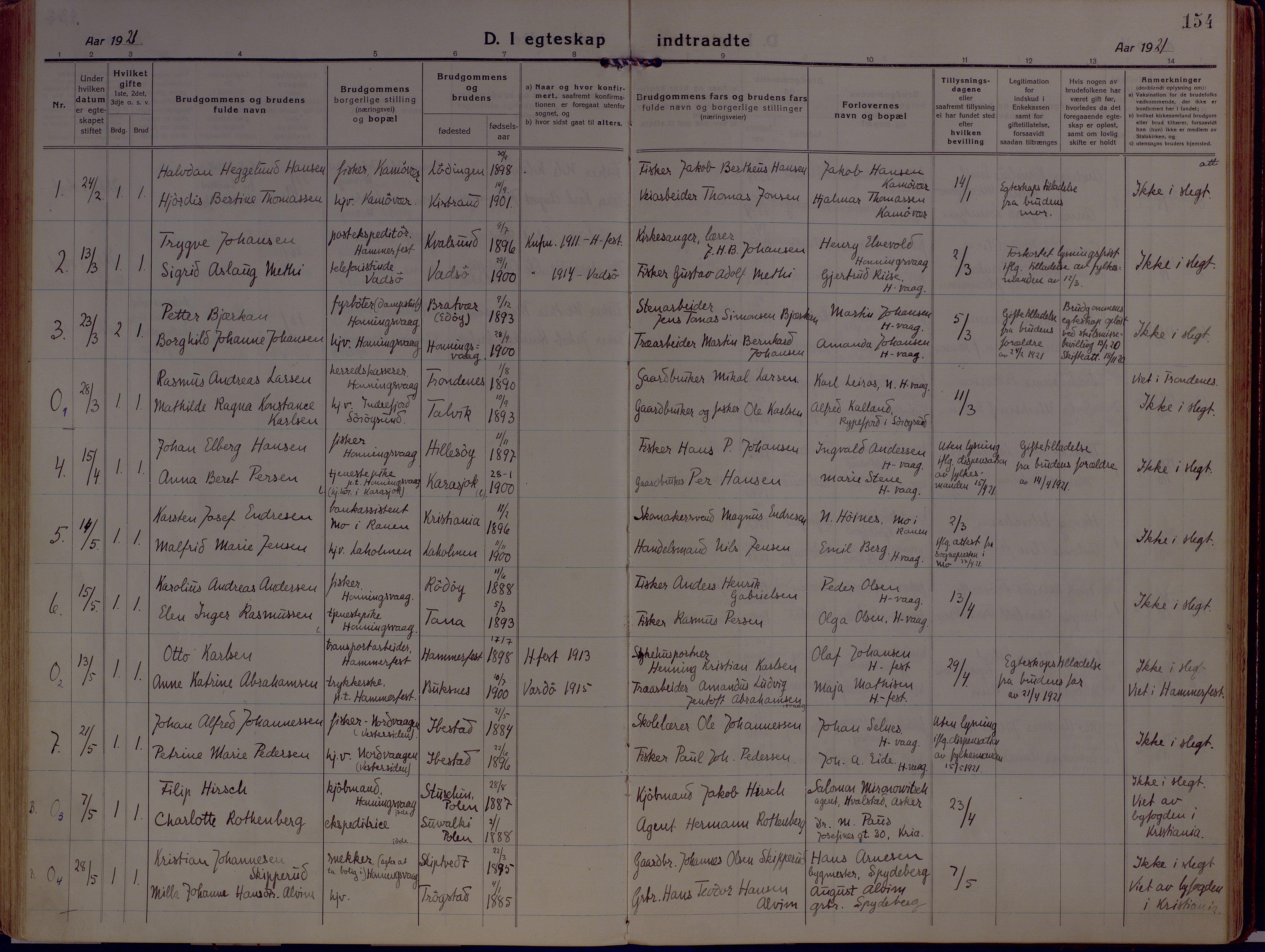 SATØ, Kjelvik/Nordkapp sokneprestkontor, H/Ha/L0002kirke: Ministerialbok nr. 2, 1920-1929, s. 154