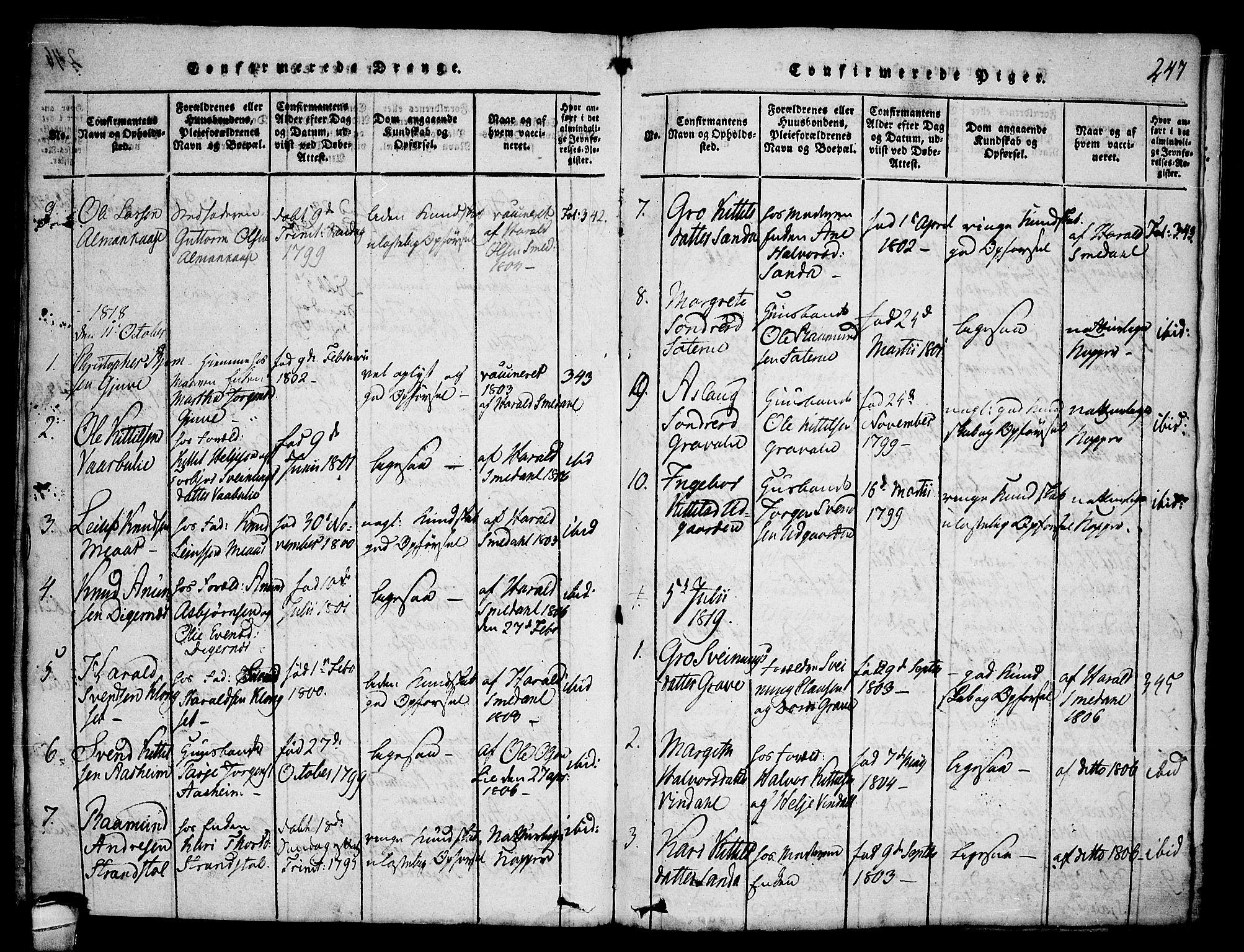 SAKO, Seljord kirkebøker, F/Fa/L0010: Ministerialbok nr. I 10, 1815-1831, s. 247