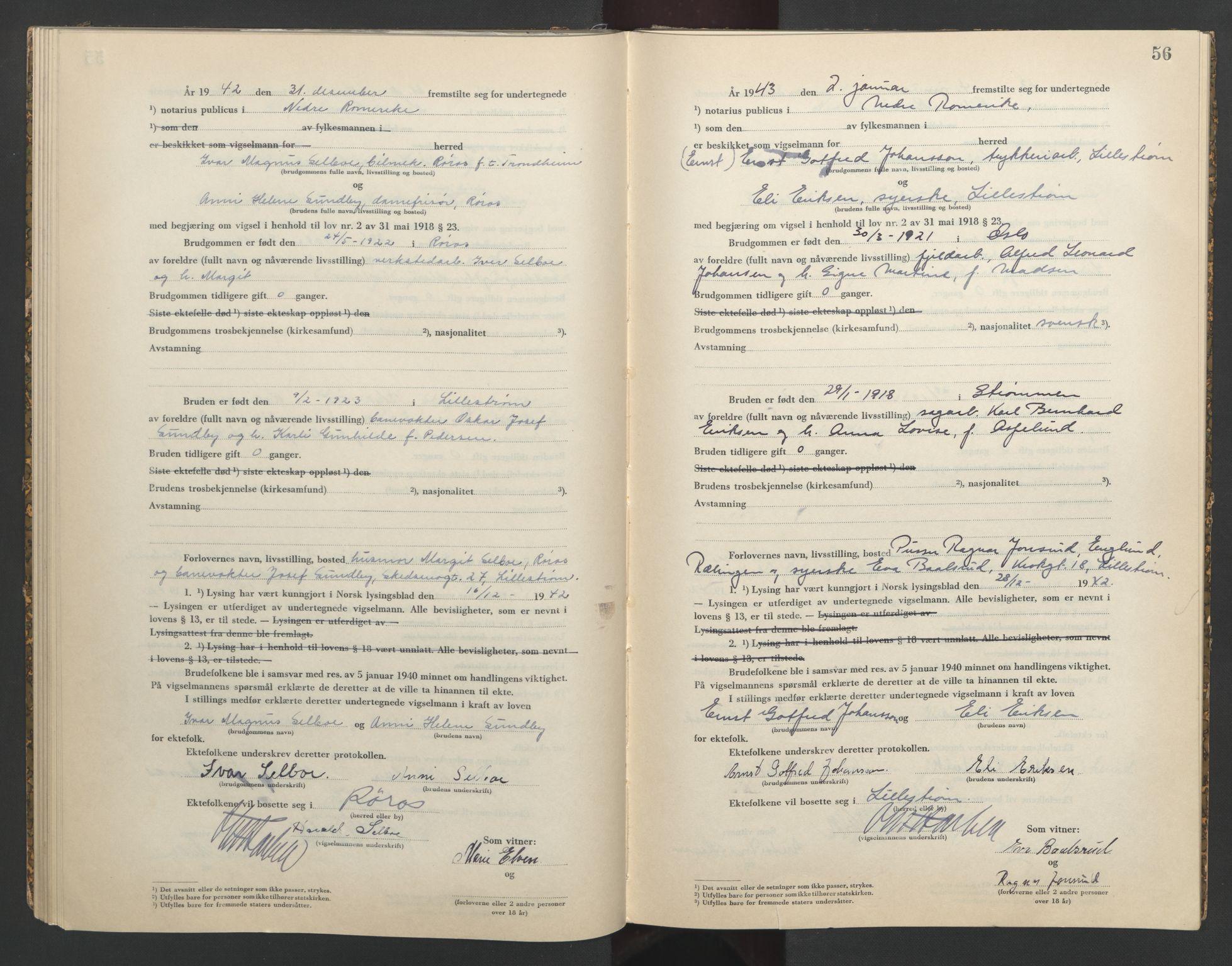 SAO, Nedre Romerike sorenskriveri, L/Lb/L0003: Vigselsbok - borgerlige vielser, 1942-1943, s. 56