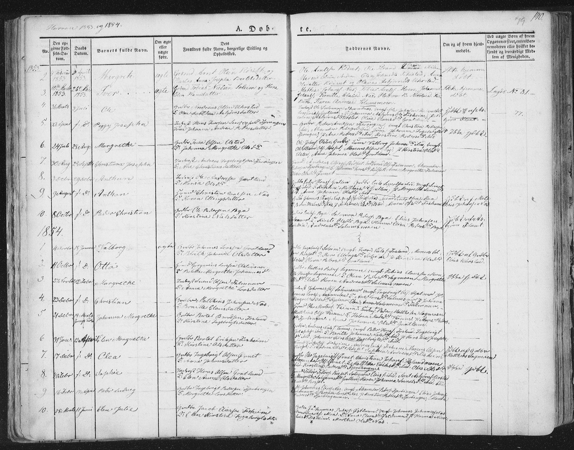 SAT, Ministerialprotokoller, klokkerbøker og fødselsregistre - Nord-Trøndelag, 758/L0513: Ministerialbok nr. 758A02 /3, 1839-1868, s. 79