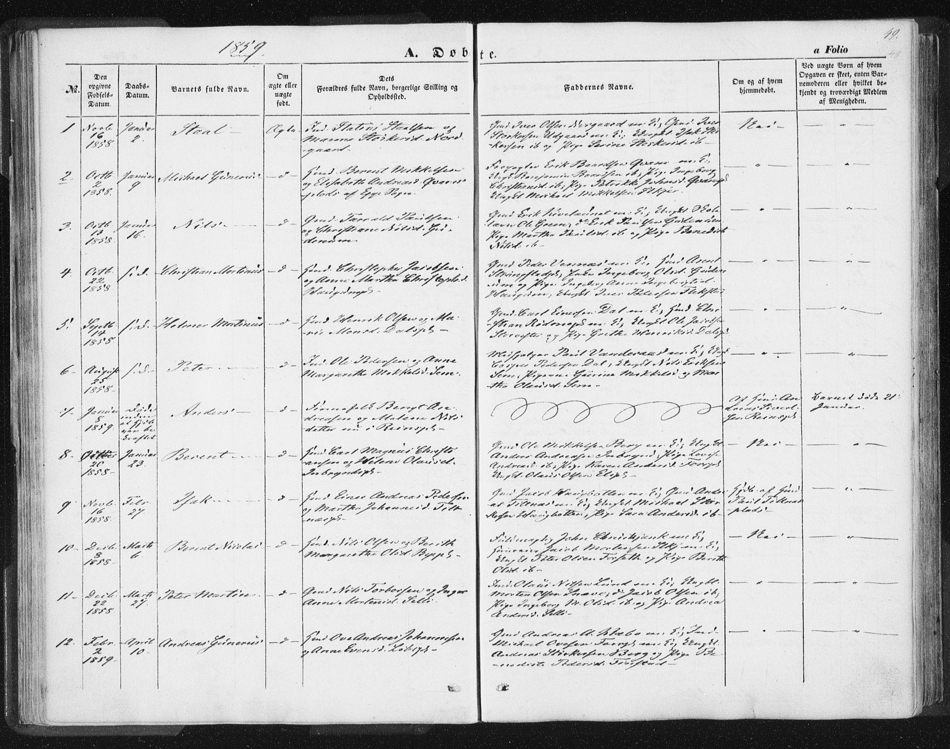 SAT, Ministerialprotokoller, klokkerbøker og fødselsregistre - Nord-Trøndelag, 746/L0446: Ministerialbok nr. 746A05, 1846-1859, s. 49