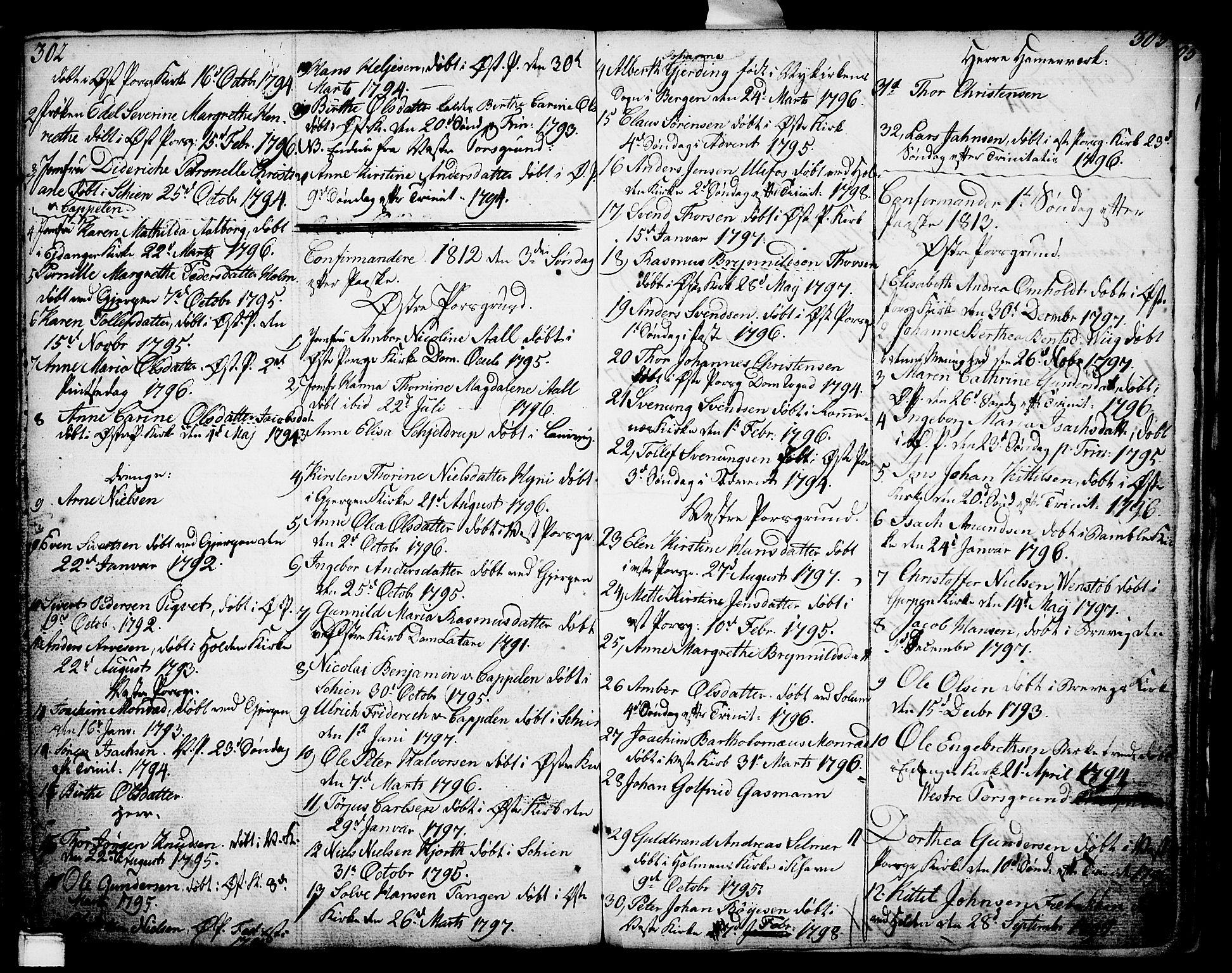 SAKO, Porsgrunn kirkebøker , F/Fa/L0002: Ministerialbok nr. 2, 1764-1814, s. 302-303