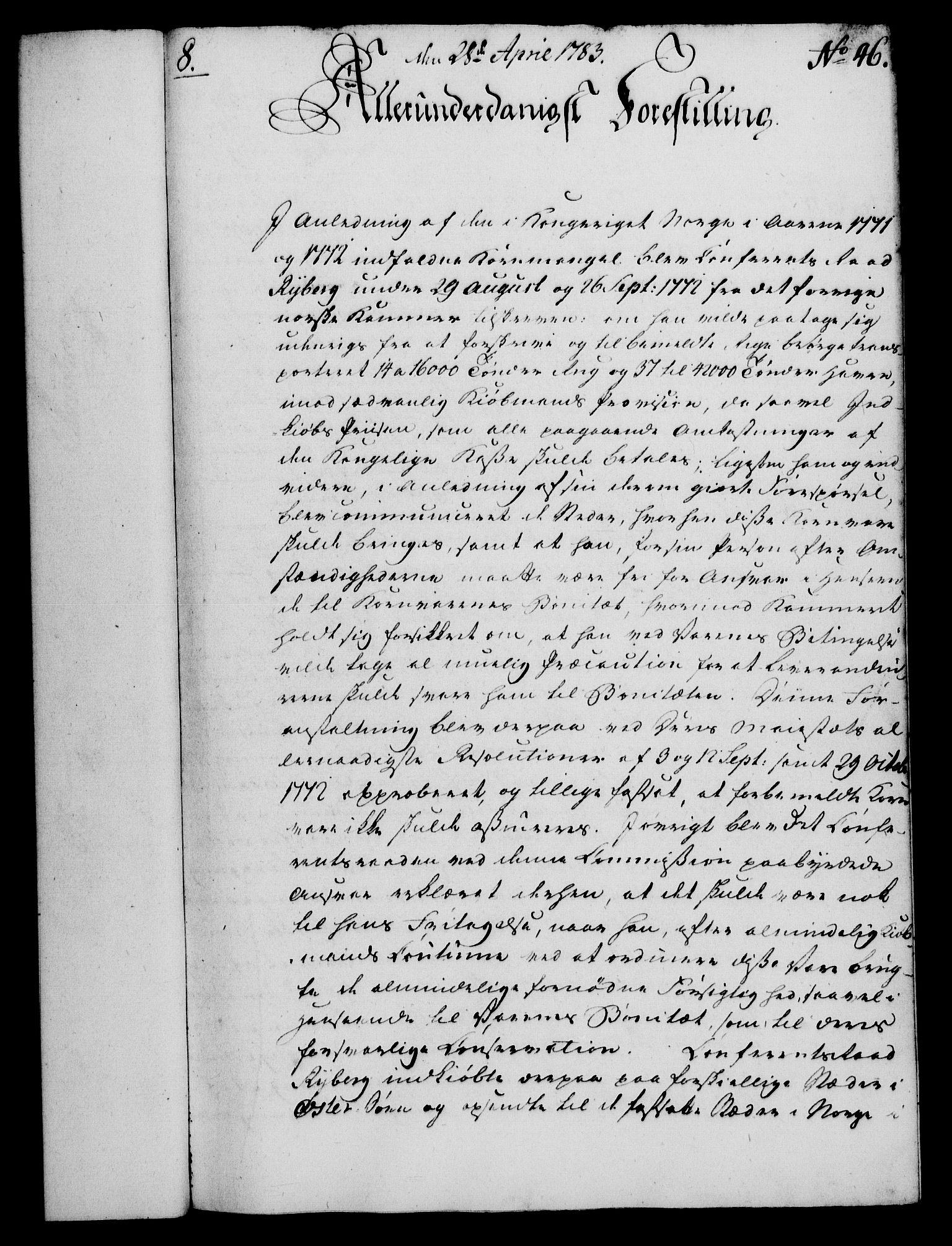 RA, Rentekammeret, Kammerkanselliet, G/Gf/Gfa/L0065: Norsk relasjons- og resolusjonsprotokoll (merket RK 52.65), 1783, s. 311