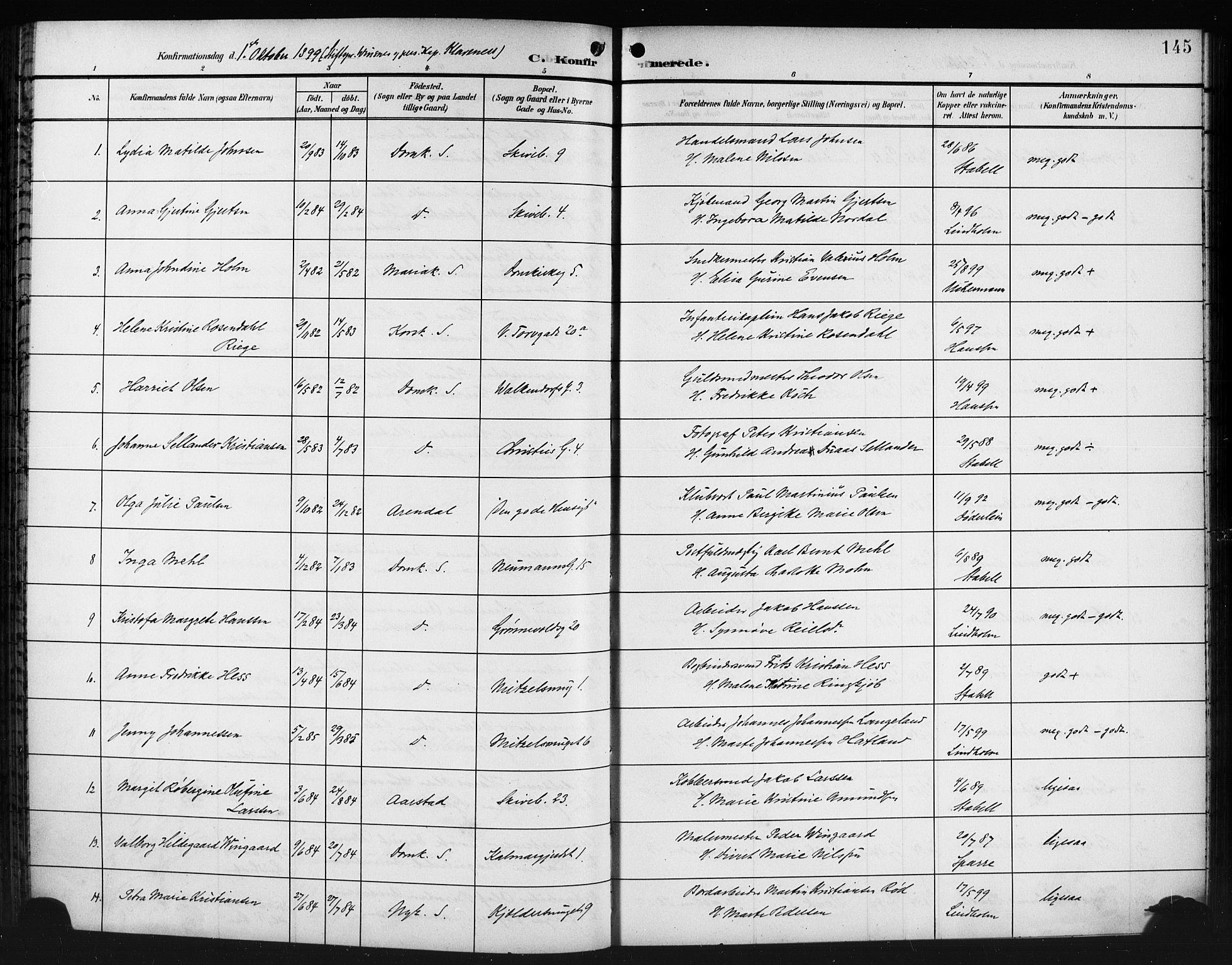 SAB, Domkirken Sokneprestembete, H/Hab/L0025: Klokkerbok nr. C 5, 1899-1916, s. 145