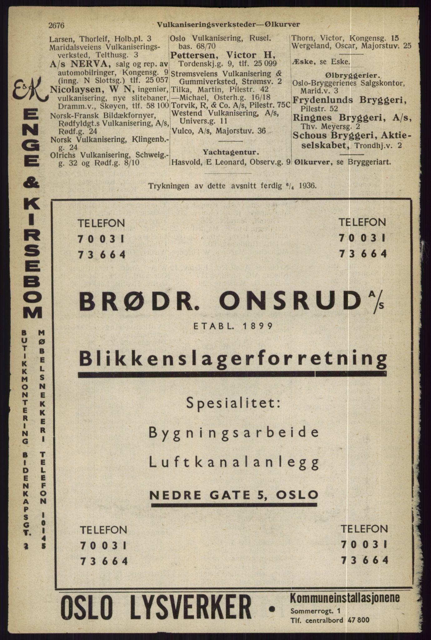 RA, Oslo adressebok (publikasjon)*, 1936, s. 2676