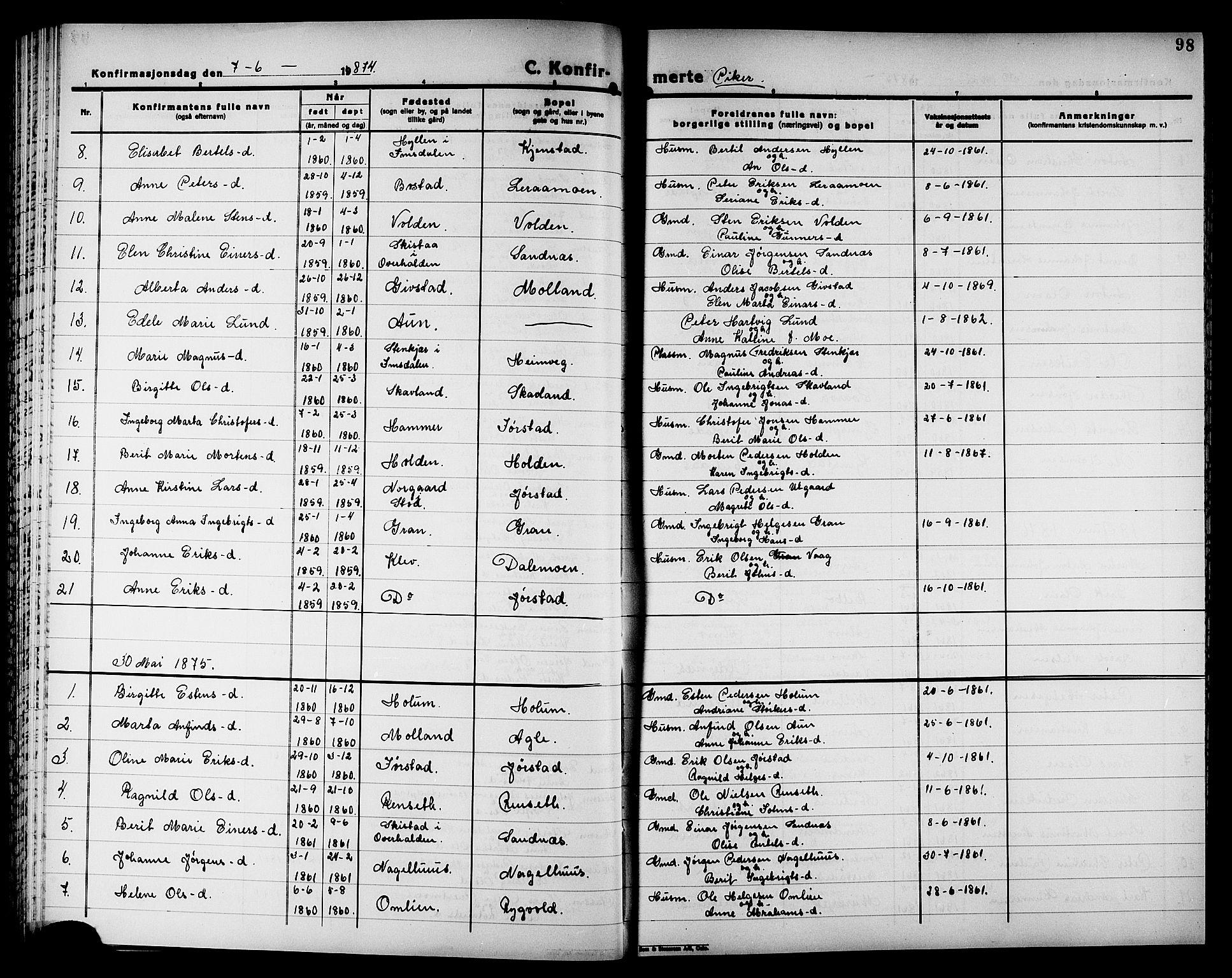 SAT, Ministerialprotokoller, klokkerbøker og fødselsregistre - Nord-Trøndelag, 749/L0486: Ministerialbok nr. 749D02, 1873-1887, s. 98