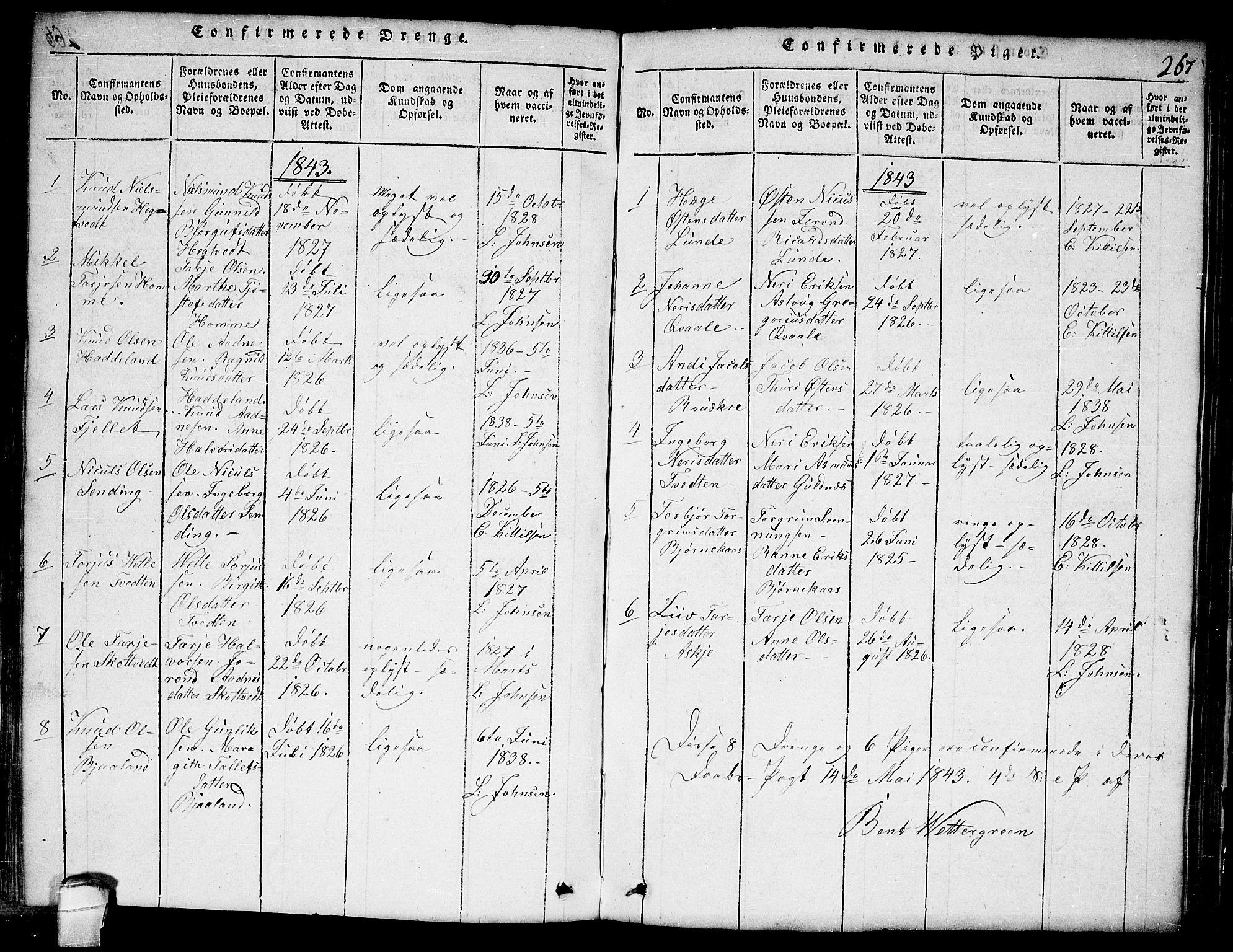 SAKO, Lårdal kirkebøker, G/Ga/L0001: Klokkerbok nr. I 1, 1815-1861, s. 267