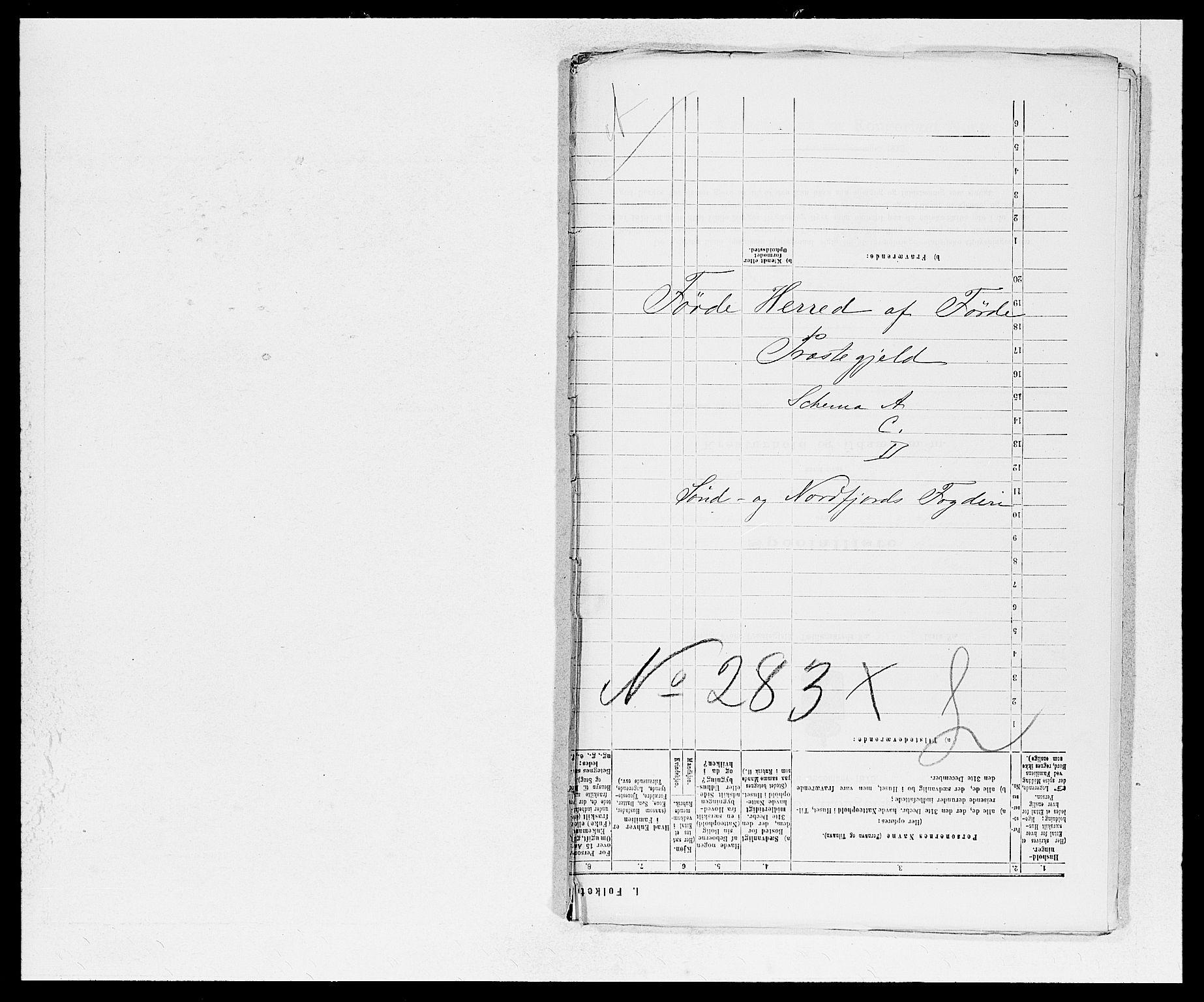 SAB, Folketelling 1875 for 1432P Førde prestegjeld, 1875, s. 1