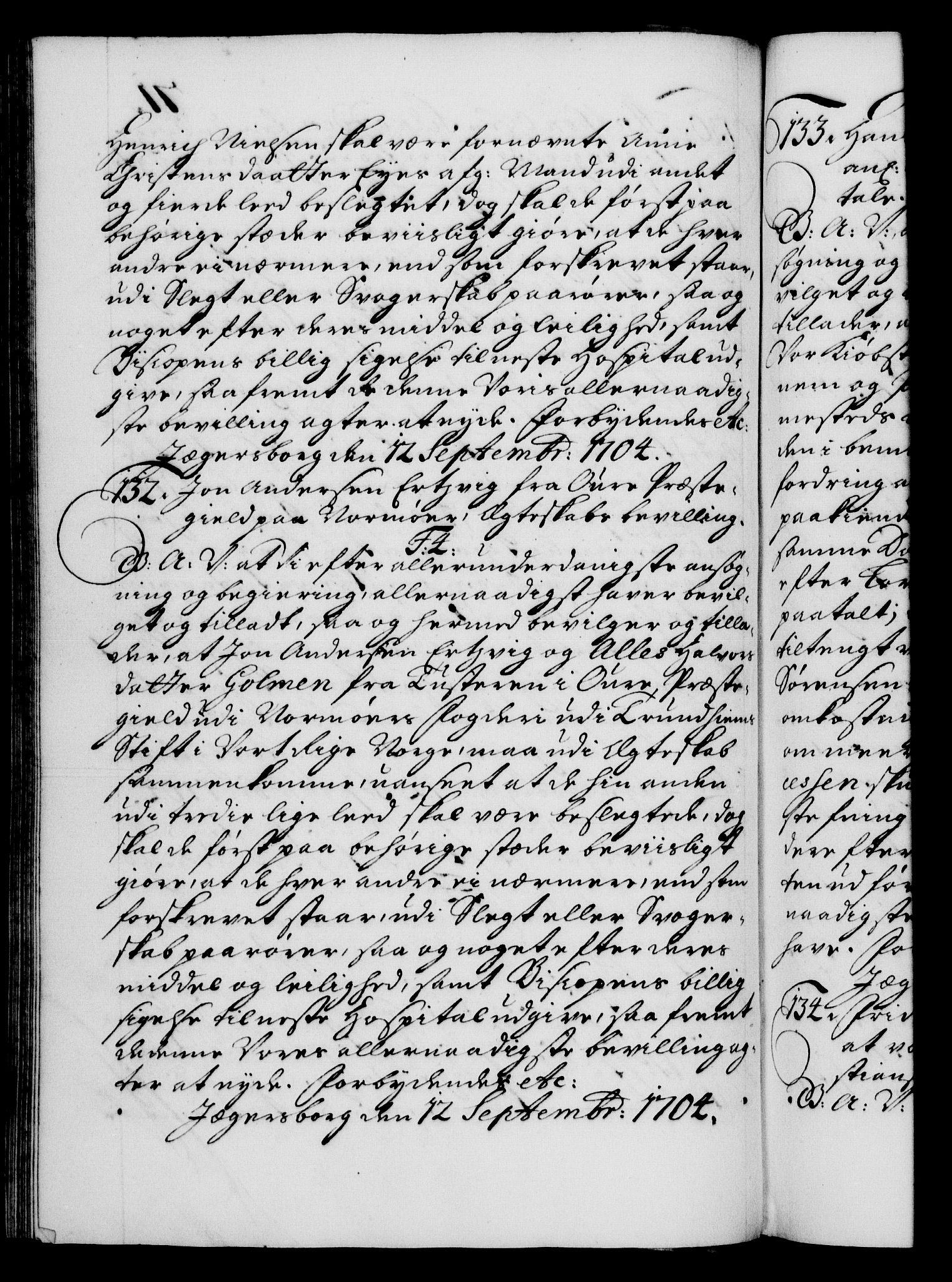 RA, Danske Kanselli 1572-1799, F/Fc/Fca/Fcaa/L0019: Norske registre, 1704-1707, s. 71b