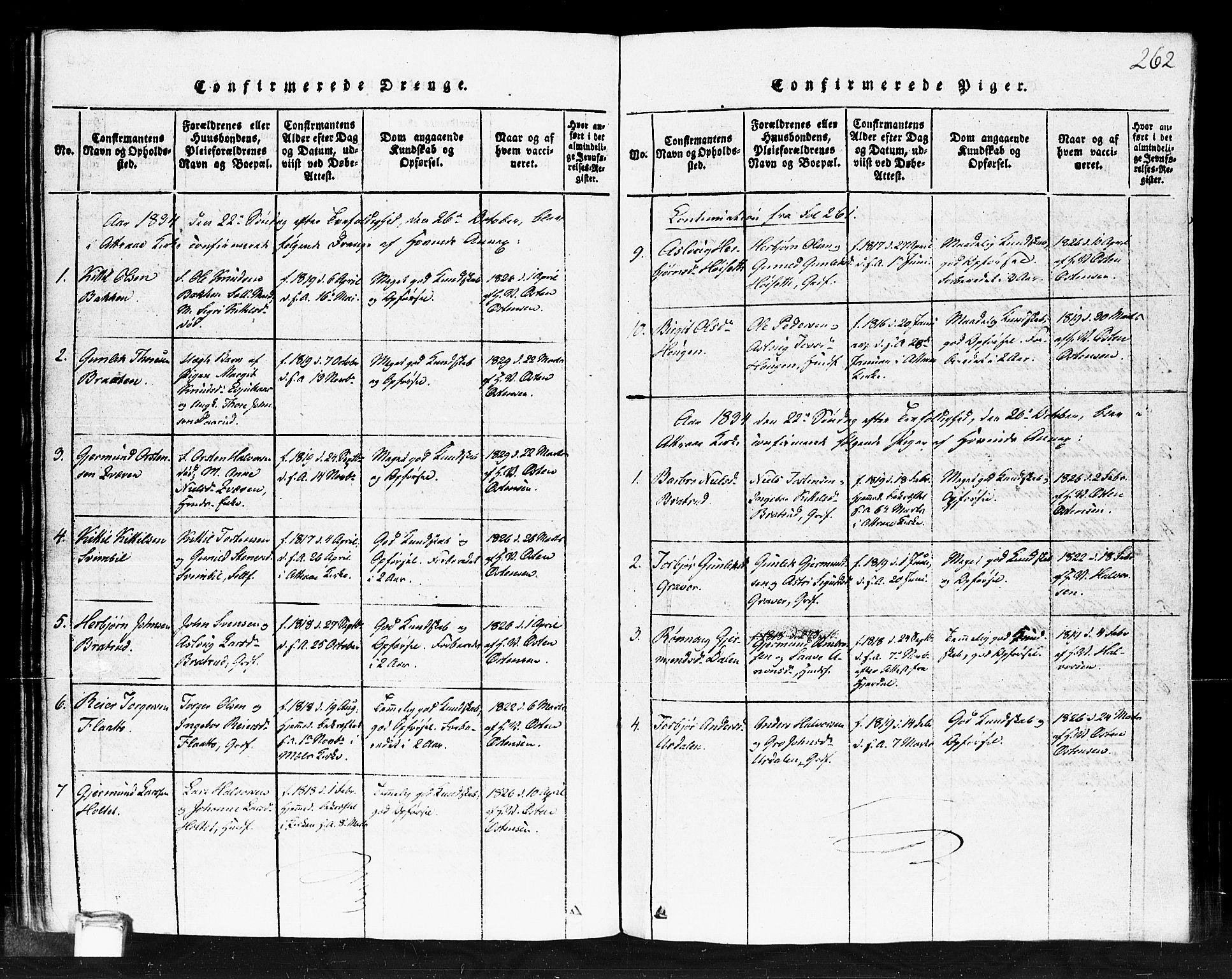 SAKO, Gransherad kirkebøker, F/Fb/L0002: Ministerialbok nr. II 2, 1815-1843, s. 262