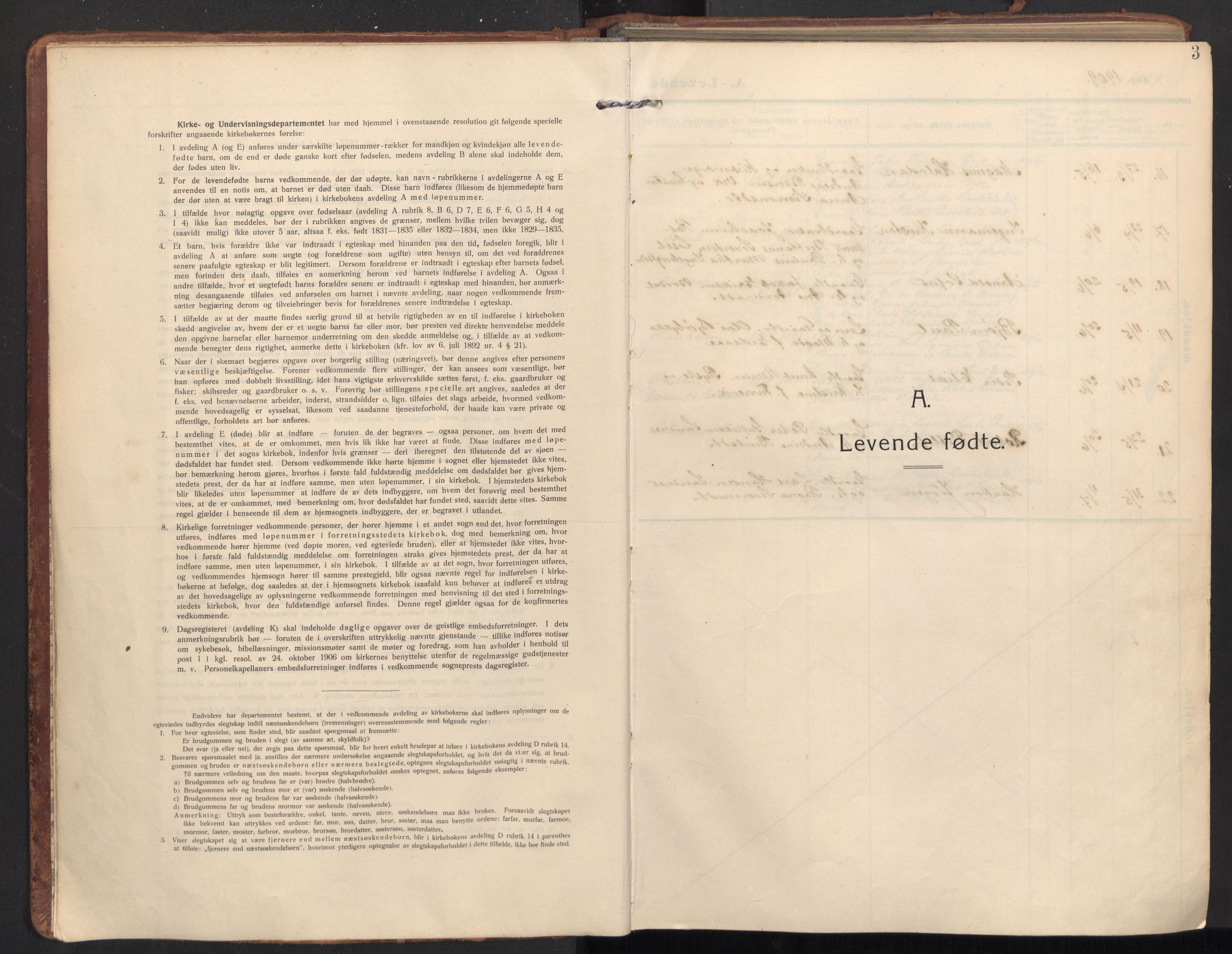 SAT, Ministerialprotokoller, klokkerbøker og fødselsregistre - Møre og Romsdal, 502/L0026: Ministerialbok nr. 502A04, 1909-1933, s. 3
