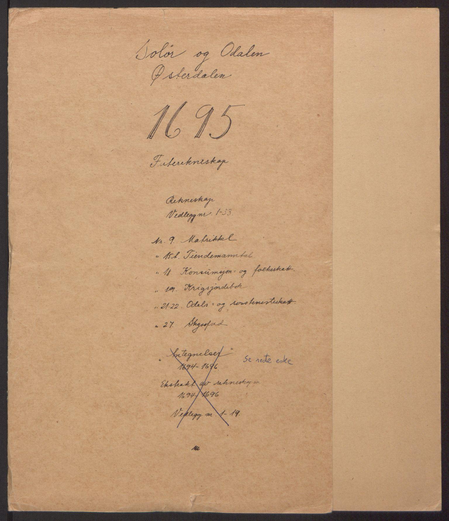 RA, Rentekammeret inntil 1814, Reviderte regnskaper, Fogderegnskap, R13/L0833: Fogderegnskap Solør, Odal og Østerdal, 1695, s. 2