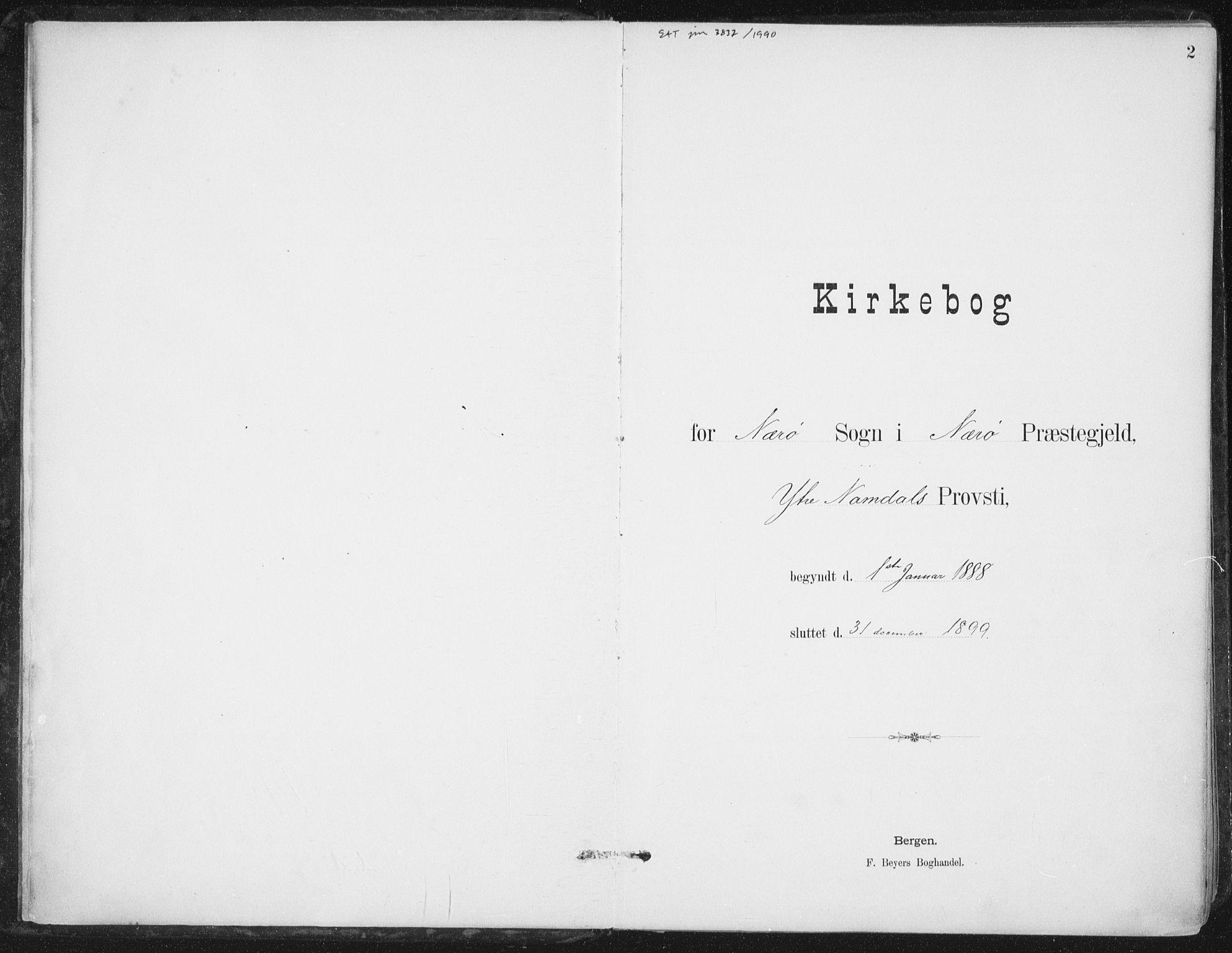 SAT, Ministerialprotokoller, klokkerbøker og fødselsregistre - Nord-Trøndelag, 784/L0673: Ministerialbok nr. 784A08, 1888-1899, s. 2
