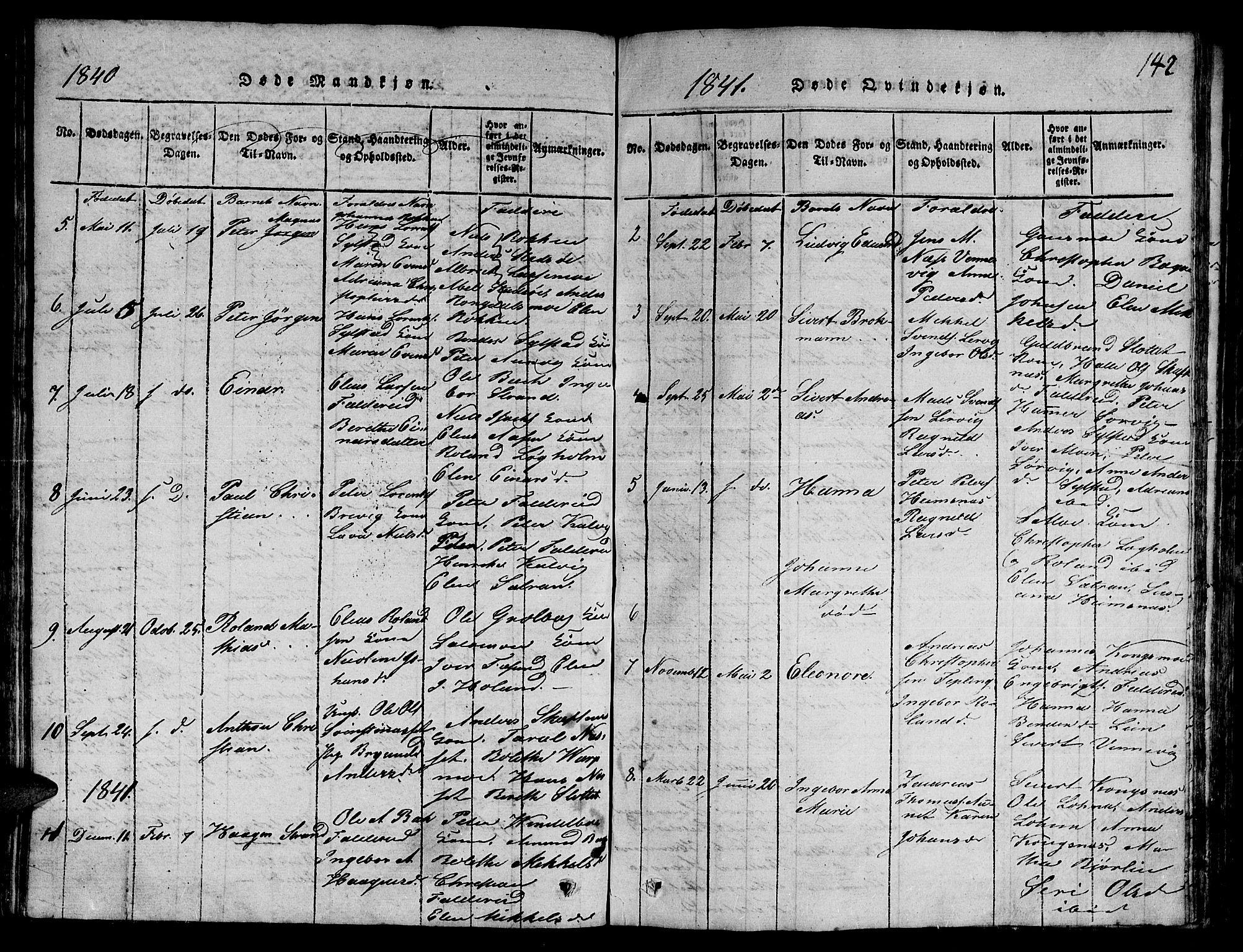 SAT, Ministerialprotokoller, klokkerbøker og fødselsregistre - Nord-Trøndelag, 780/L0648: Klokkerbok nr. 780C01 /3, 1815-1877, s. 142