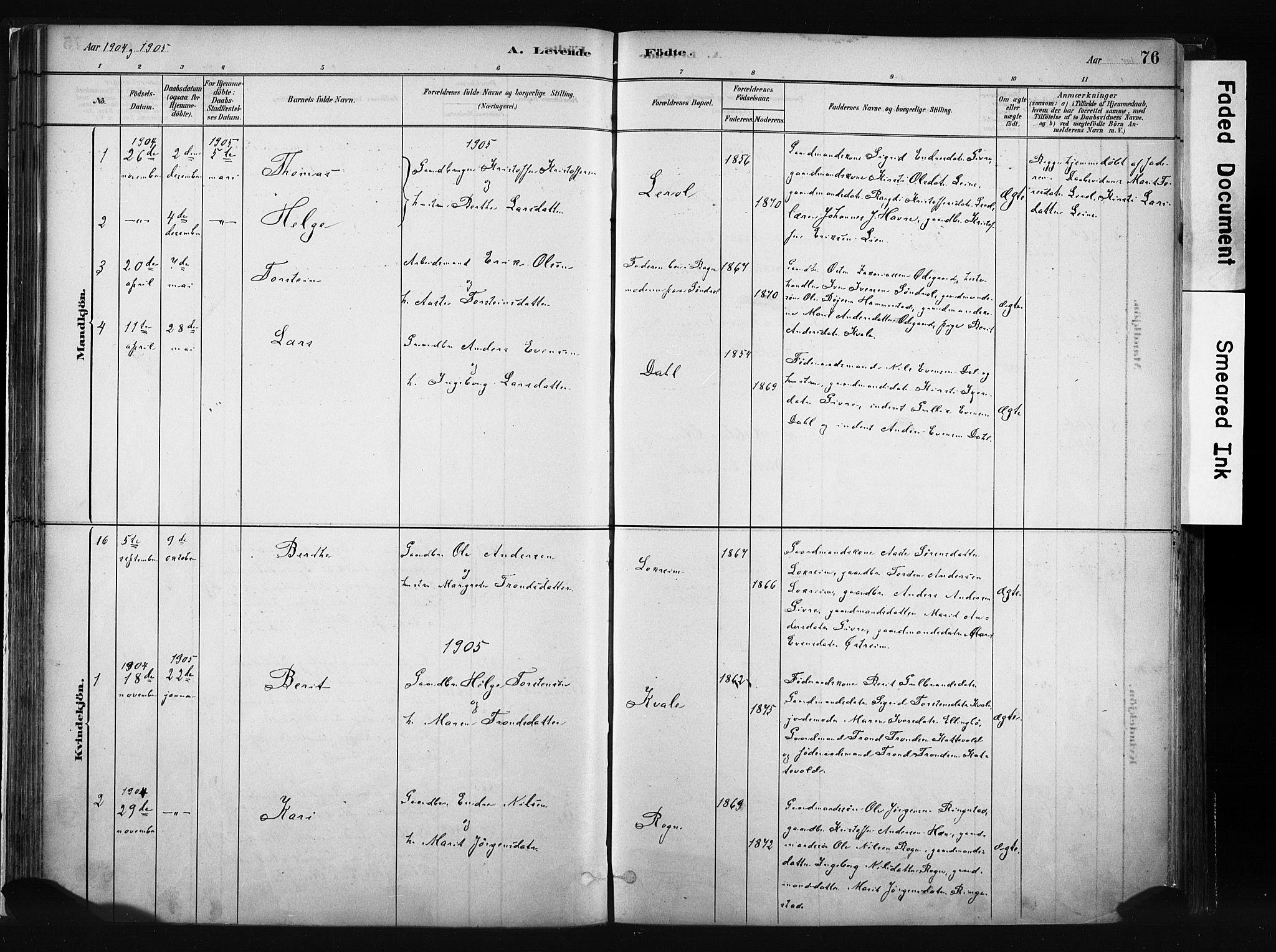 SAH, Vang prestekontor, Valdres, Ministerialbok nr. 8, 1882-1910, s. 76