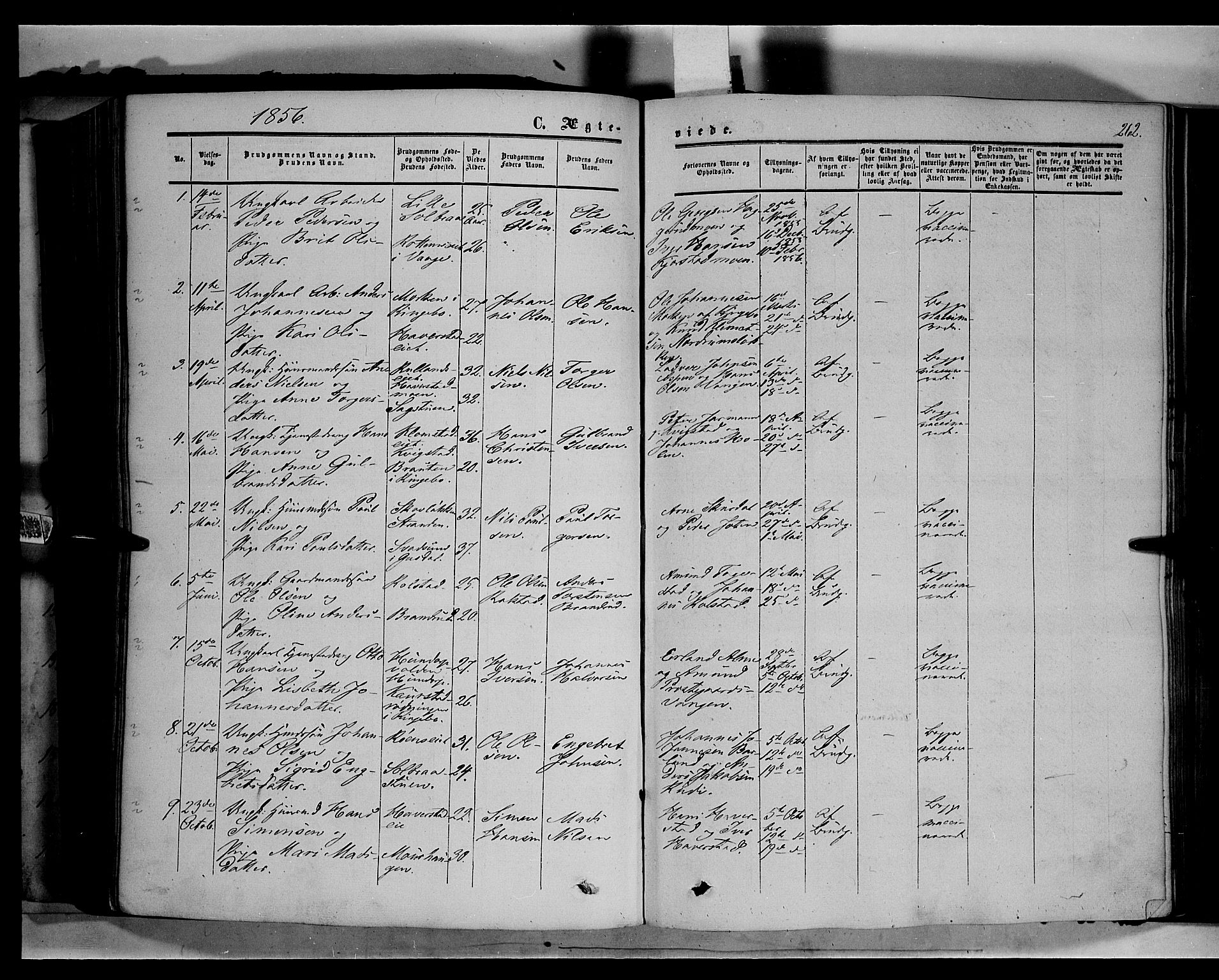 SAH, Sør-Fron prestekontor, H/Ha/Haa/L0001: Ministerialbok nr. 1, 1849-1863, s. 262