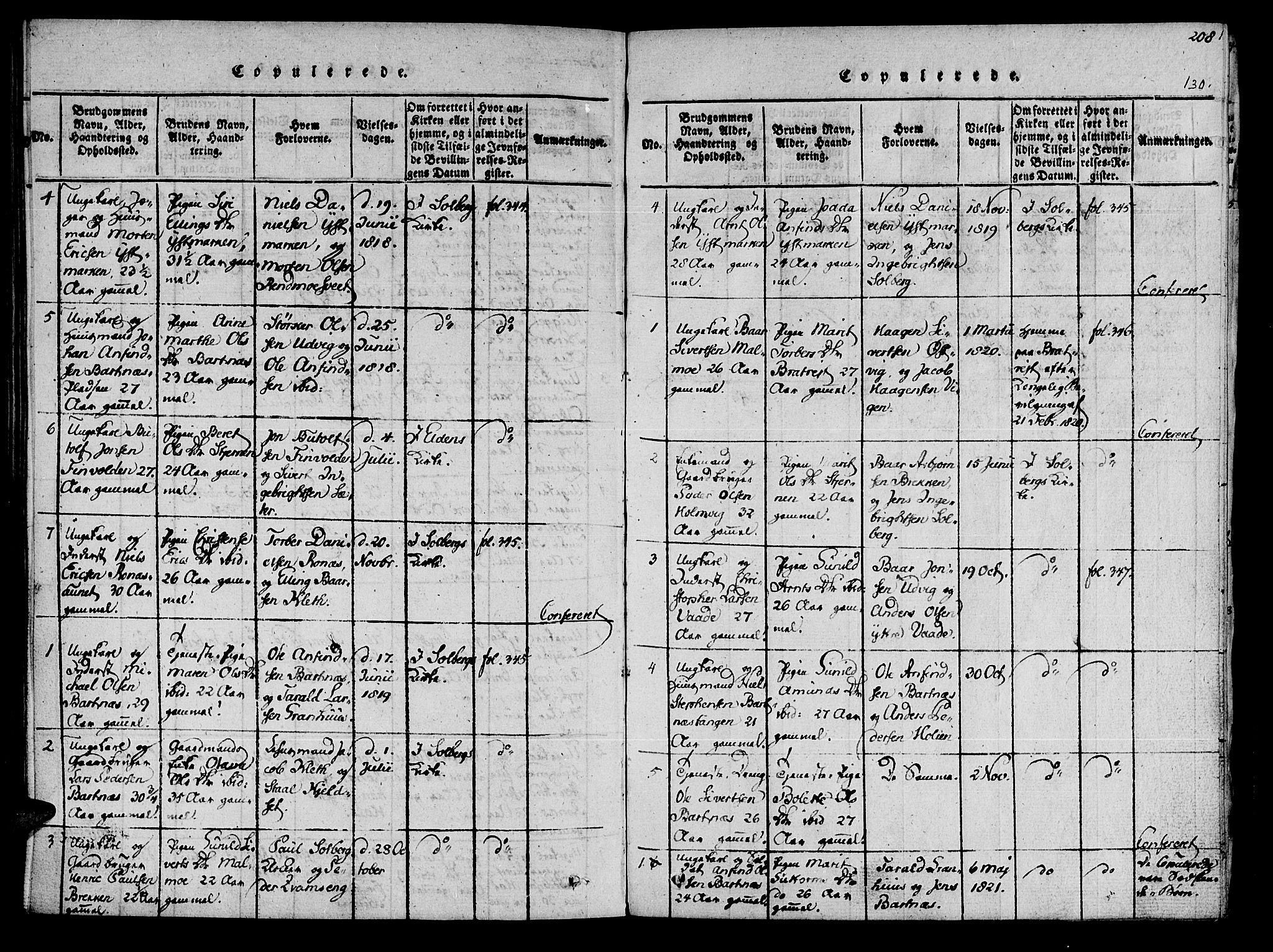 SAT, Ministerialprotokoller, klokkerbøker og fødselsregistre - Nord-Trøndelag, 741/L0387: Ministerialbok nr. 741A03 /2, 1817-1822, s. 130