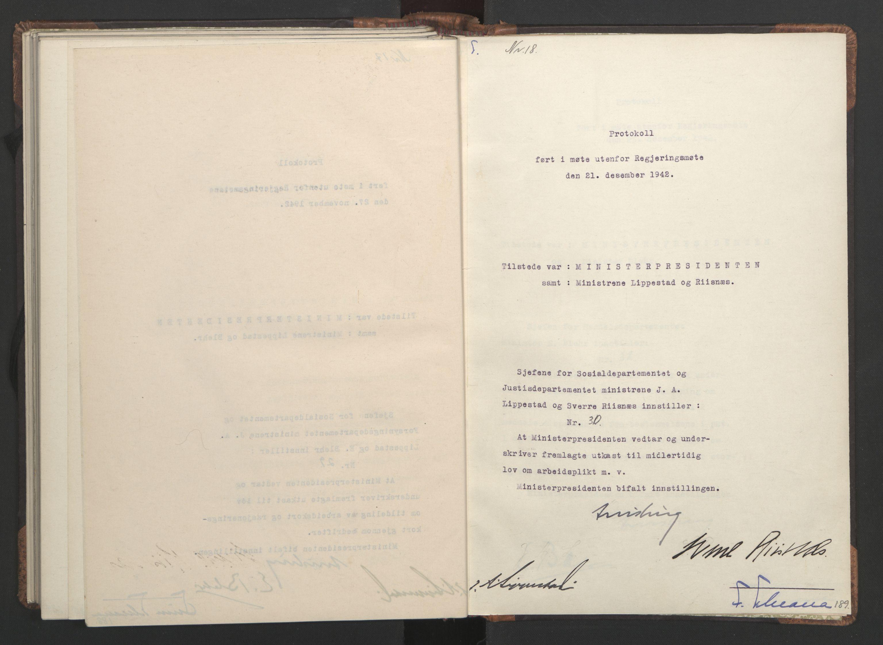 RA, NS-administrasjonen 1940-1945 (Statsrådsekretariatet, de kommisariske statsråder mm), D/Da/L0001: Beslutninger og tillegg (1-952 og 1-32), 1942, s. 188b-189a