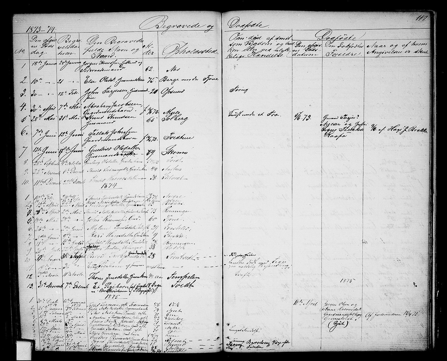 SAKO, Nissedal kirkebøker, G/Ga/L0002: Klokkerbok nr. I 2, 1861-1887, s. 117