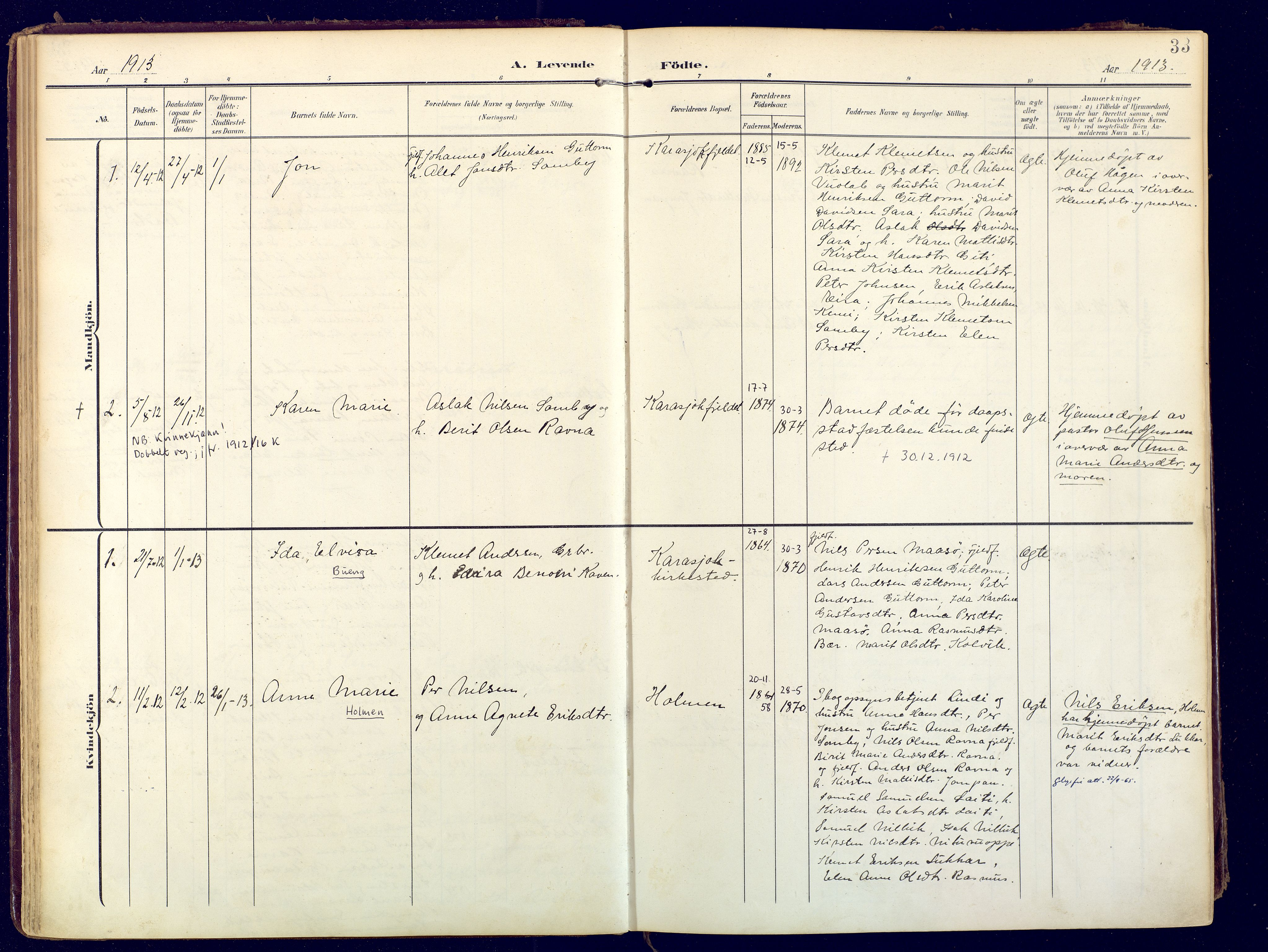 SATØ, Karasjok sokneprestkontor, H/Ha: Ministerialbok nr. 3, 1907-1926, s. 33
