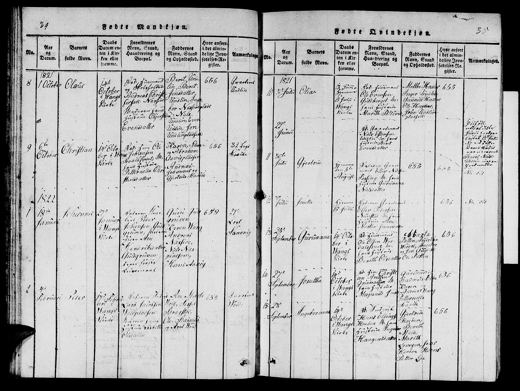 SAT, Ministerialprotokoller, klokkerbøker og fødselsregistre - Nord-Trøndelag, 714/L0132: Klokkerbok nr. 714C01, 1817-1824, s. 34-35