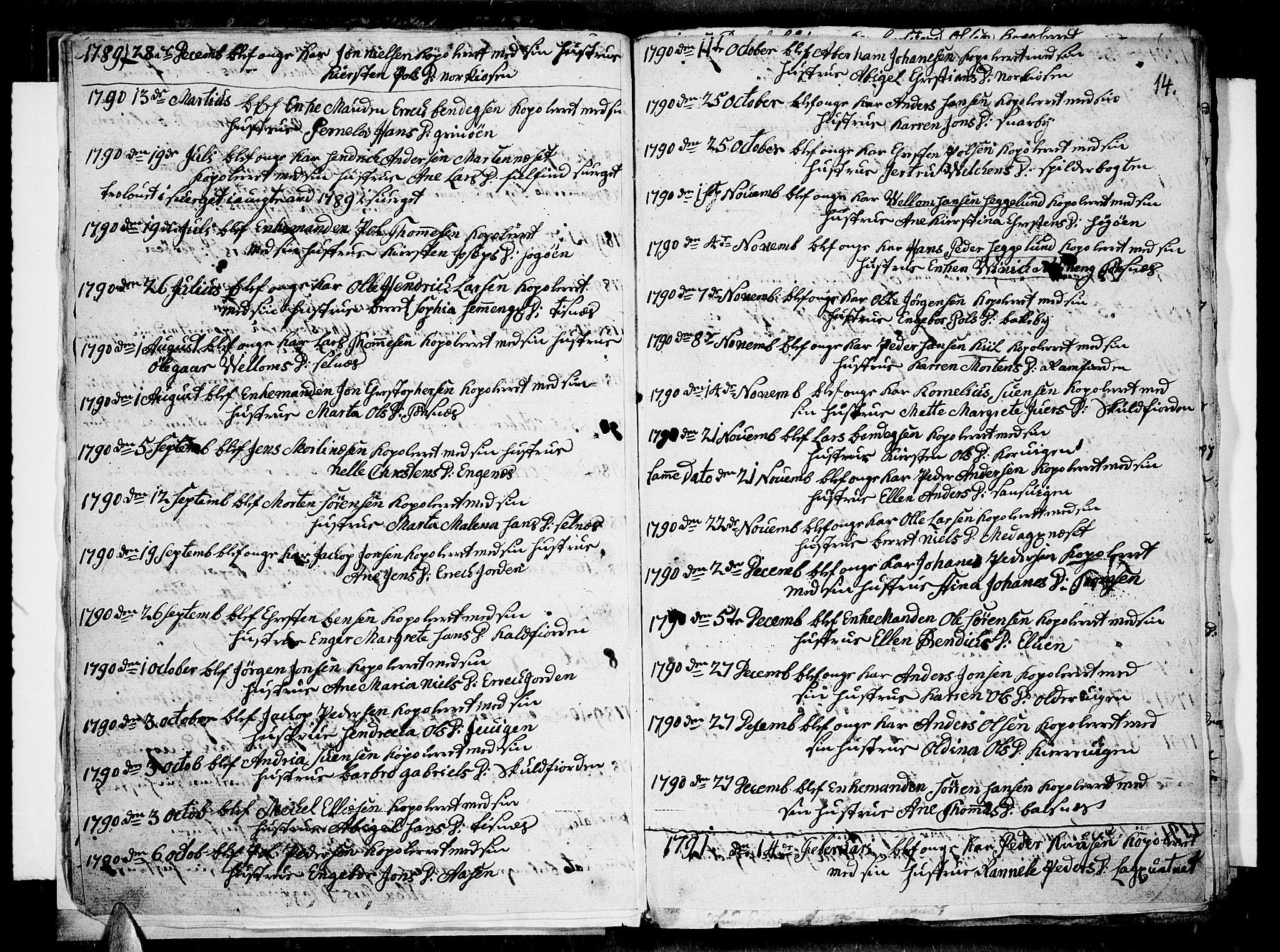 SATØ, Tromsø sokneprestkontor/stiftsprosti/domprosti, G/Ga/L0004kirke: Ministerialbok nr. 4, 1787-1795, s. 14
