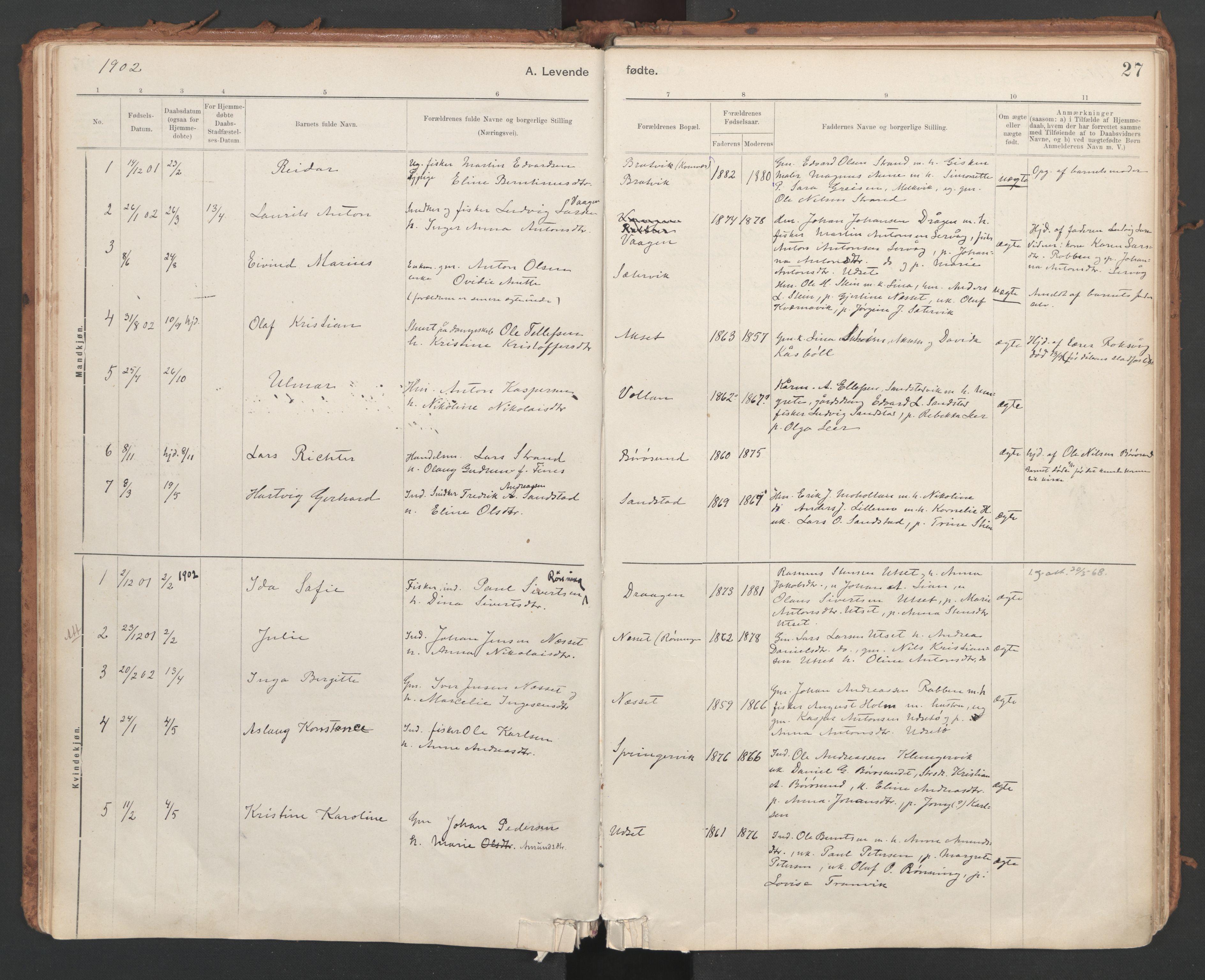 SAT, Ministerialprotokoller, klokkerbøker og fødselsregistre - Sør-Trøndelag, 639/L0572: Ministerialbok nr. 639A01, 1890-1920, s. 27