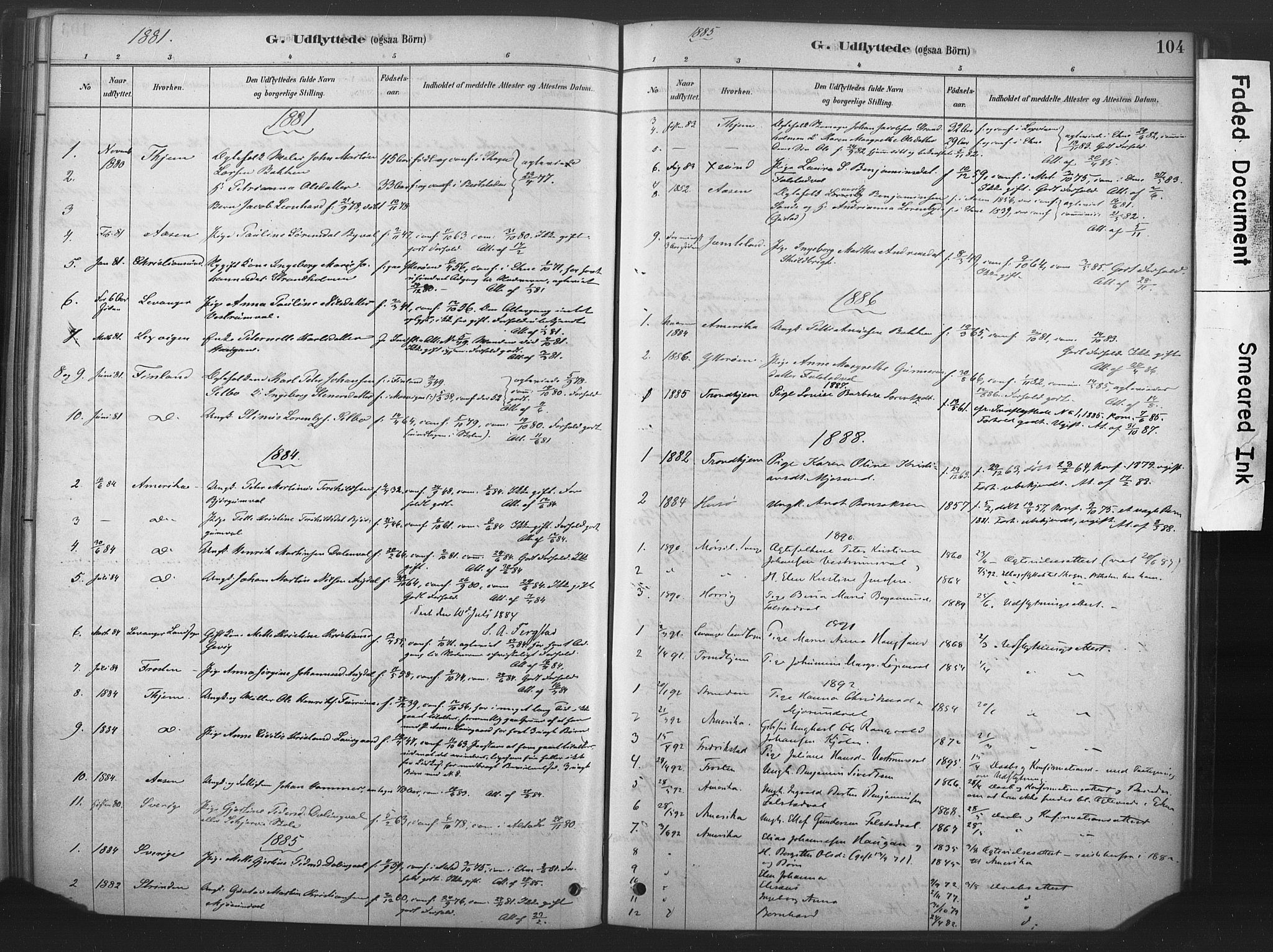SAT, Ministerialprotokoller, klokkerbøker og fødselsregistre - Nord-Trøndelag, 719/L0178: Ministerialbok nr. 719A01, 1878-1900, s. 104