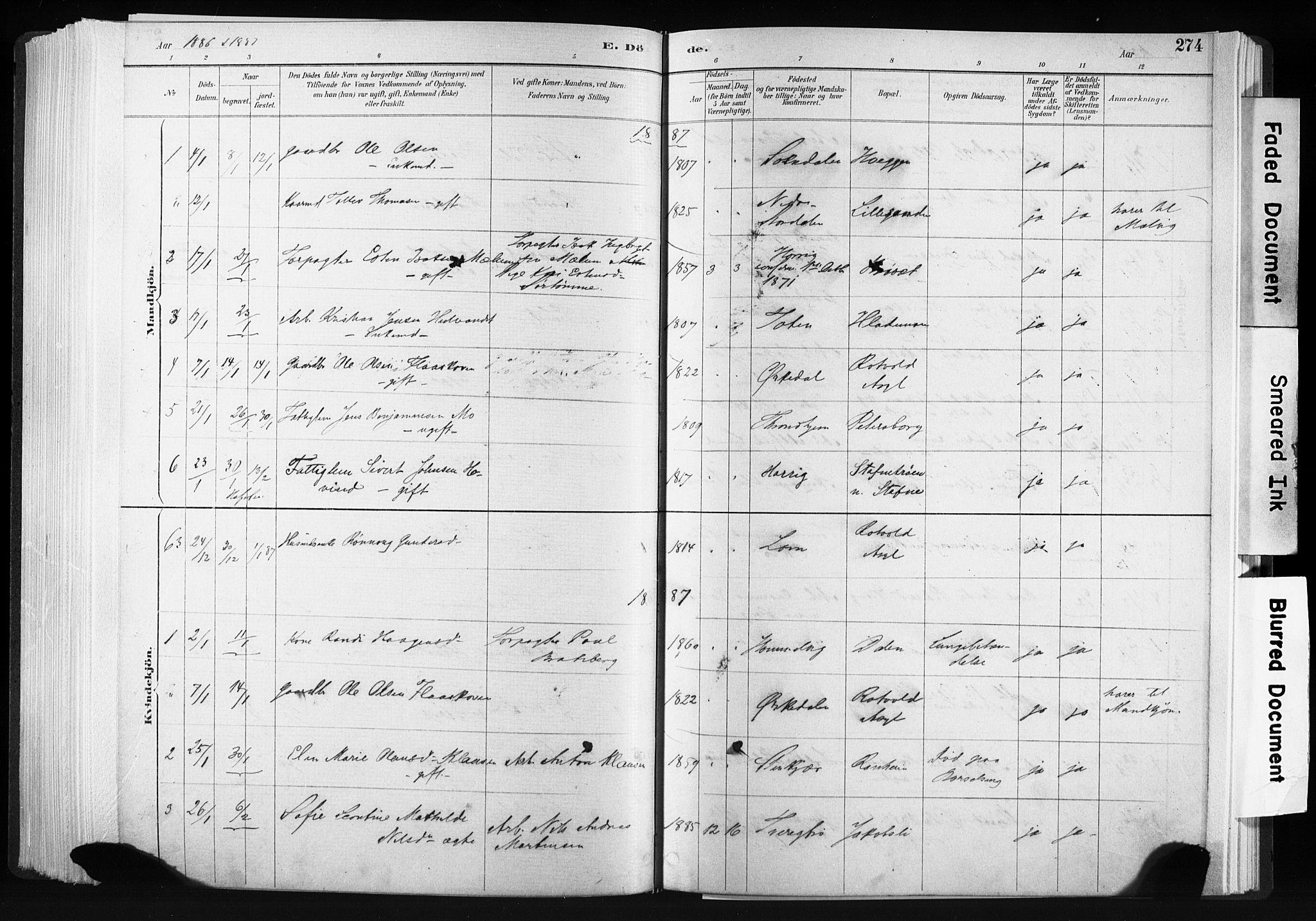 SAT, Ministerialprotokoller, klokkerbøker og fødselsregistre - Sør-Trøndelag, 606/L0300: Ministerialbok nr. 606A15, 1886-1893, s. 274