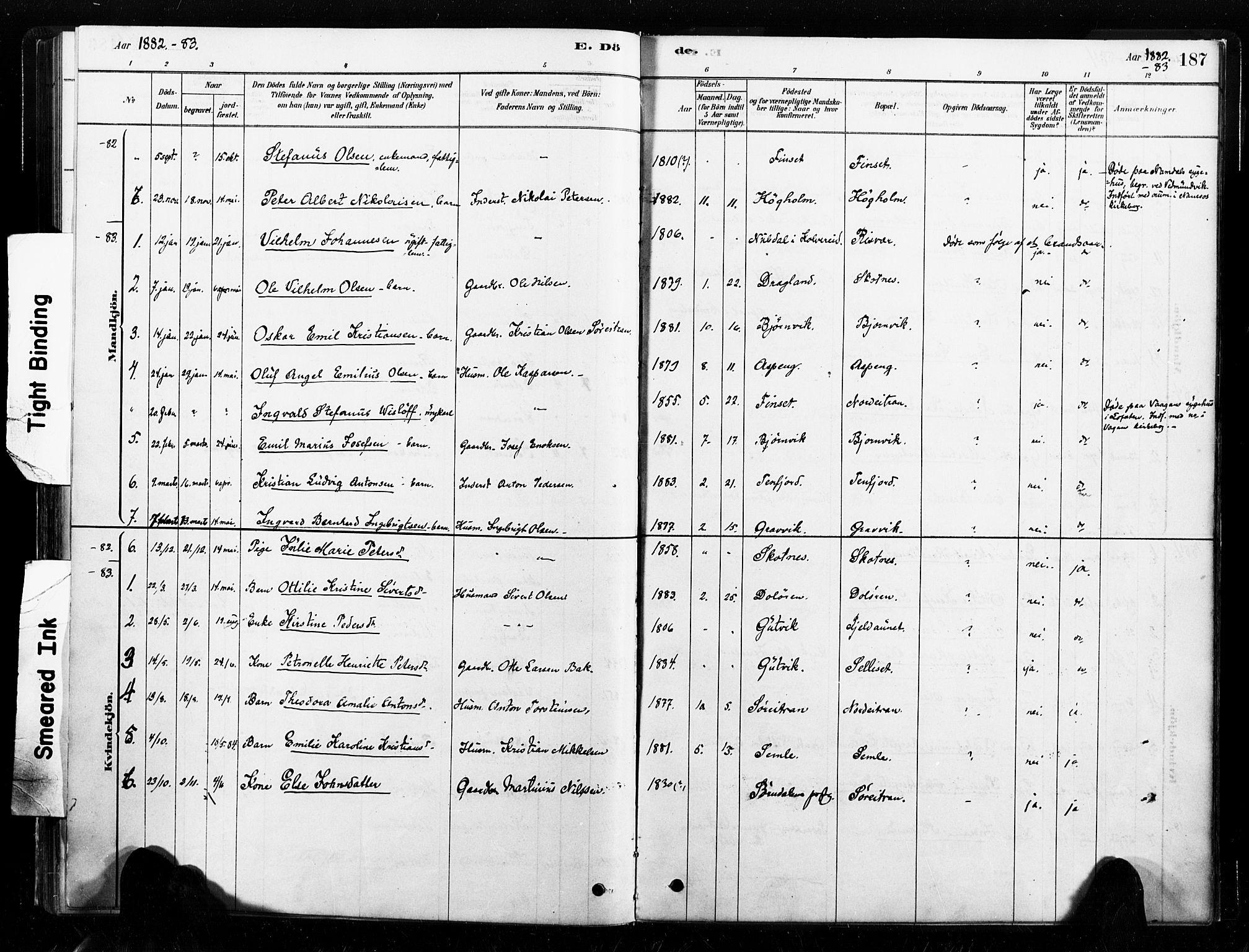 SAT, Ministerialprotokoller, klokkerbøker og fødselsregistre - Nord-Trøndelag, 789/L0705: Ministerialbok nr. 789A01, 1878-1910, s. 187
