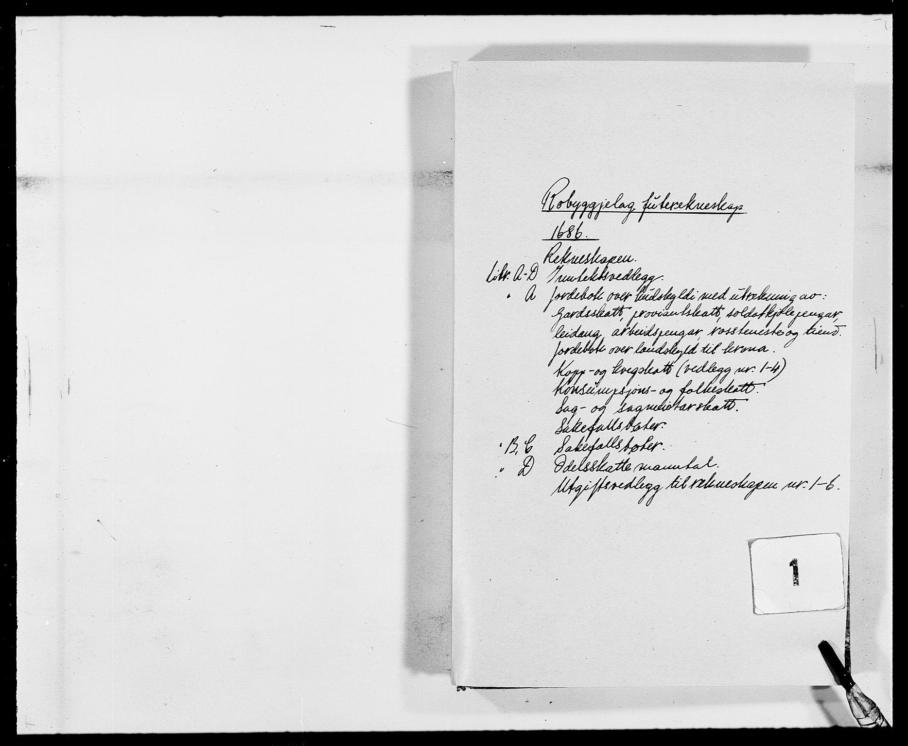 RA, Rentekammeret inntil 1814, Reviderte regnskaper, Fogderegnskap, R40/L2440: Fogderegnskap Råbyggelag, 1686-1687, s. 1