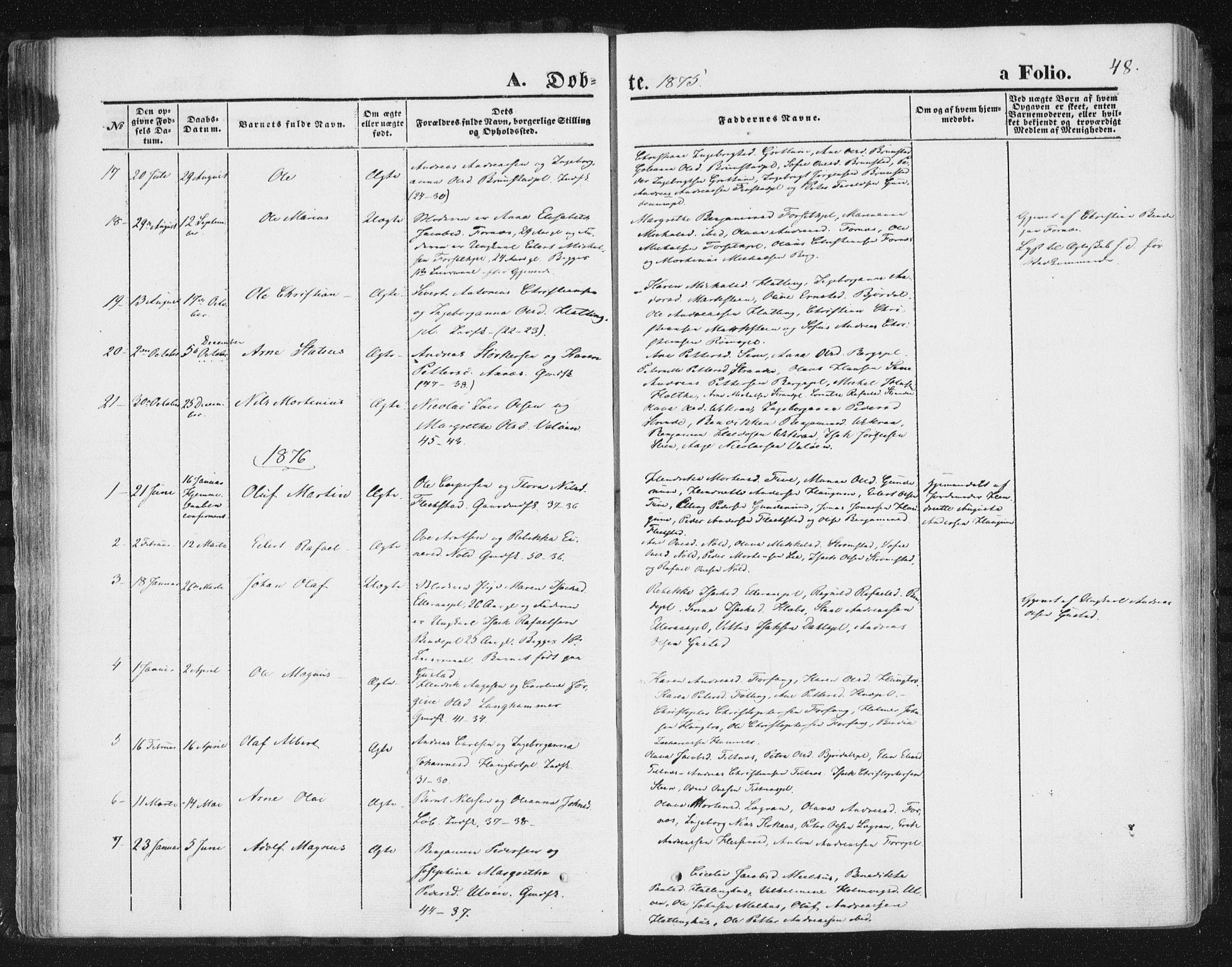 SAT, Ministerialprotokoller, klokkerbøker og fødselsregistre - Nord-Trøndelag, 746/L0447: Ministerialbok nr. 746A06, 1860-1877, s. 48