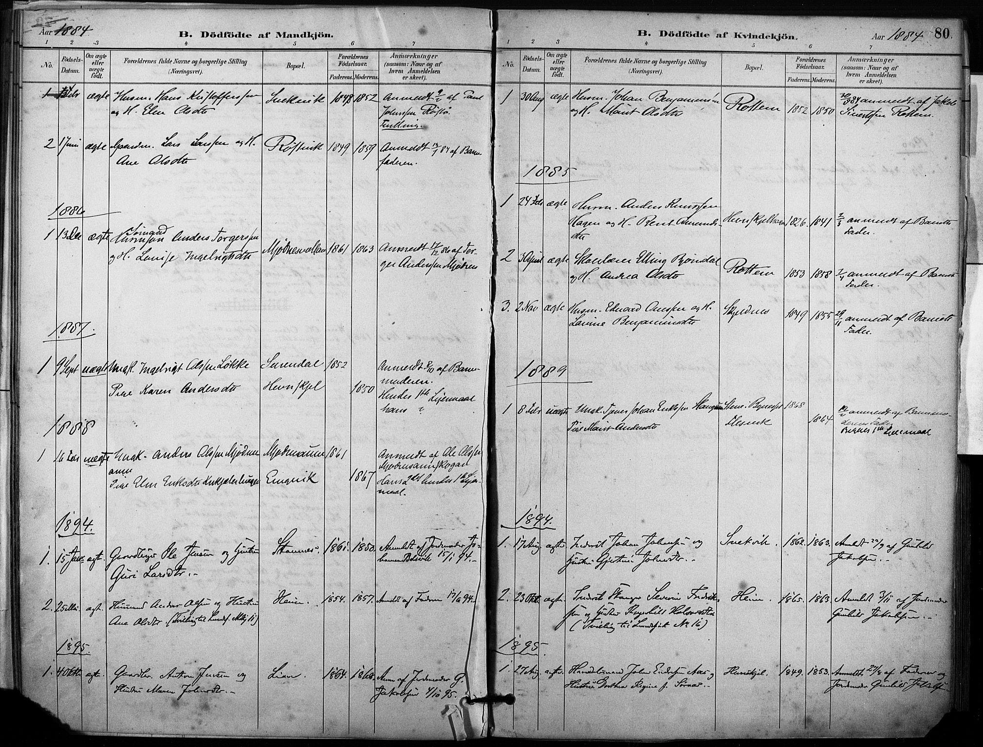 SAT, Ministerialprotokoller, klokkerbøker og fødselsregistre - Sør-Trøndelag, 633/L0518: Ministerialbok nr. 633A01, 1884-1906, s. 80