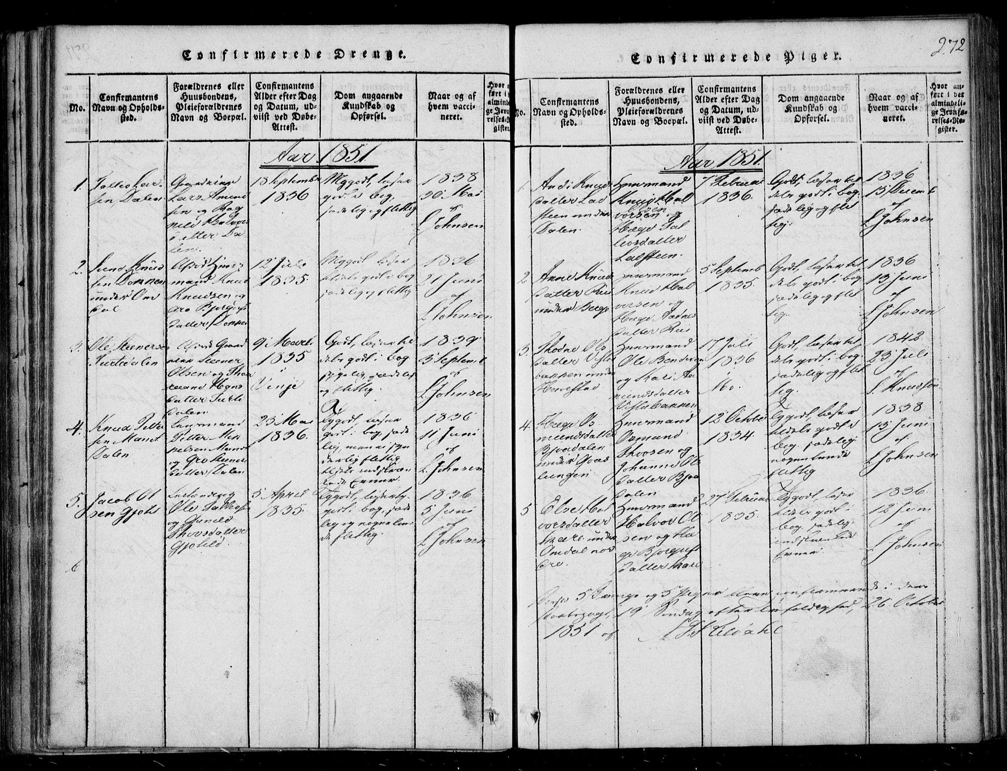 SAKO, Lårdal kirkebøker, F/Fb/L0001: Ministerialbok nr. II 1, 1815-1860, s. 272